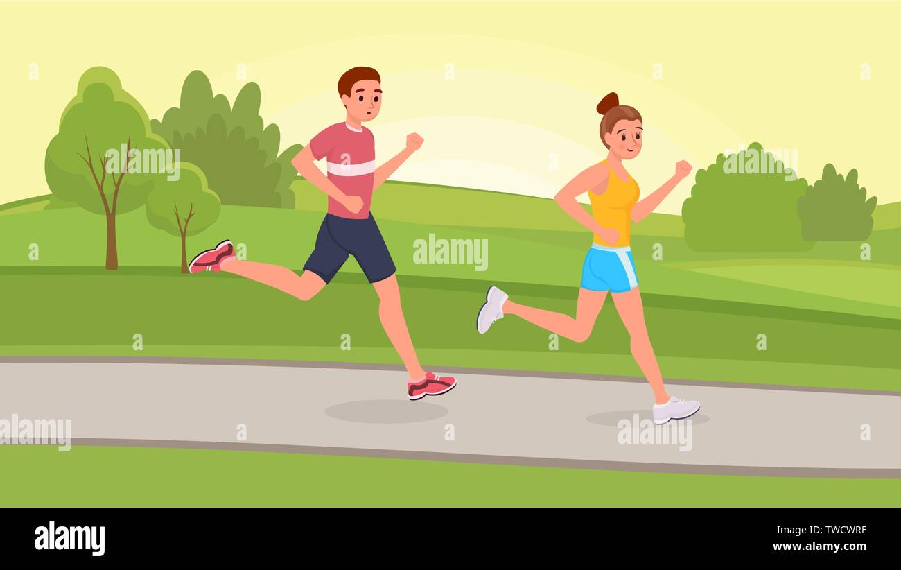 Smiling couple friends running in park on morning flat style vector illustration - Stock Vector