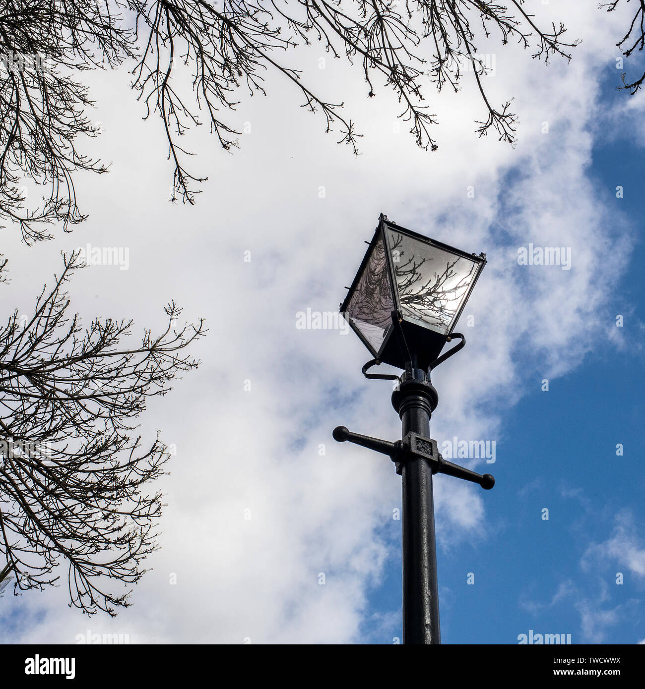 Victorian Lamp Post, london converted  Victorian gas street lamp. Stock Photo