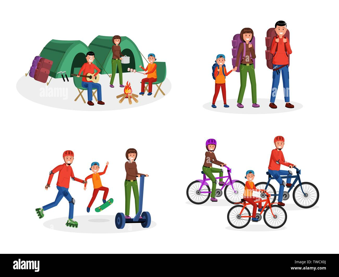 Joyful cartoon parents with children travelling, riding bike scateboard, going camping with tents vector illustration set. Mother father and kid living active lifestyle. Isolated on white - Stock Vector