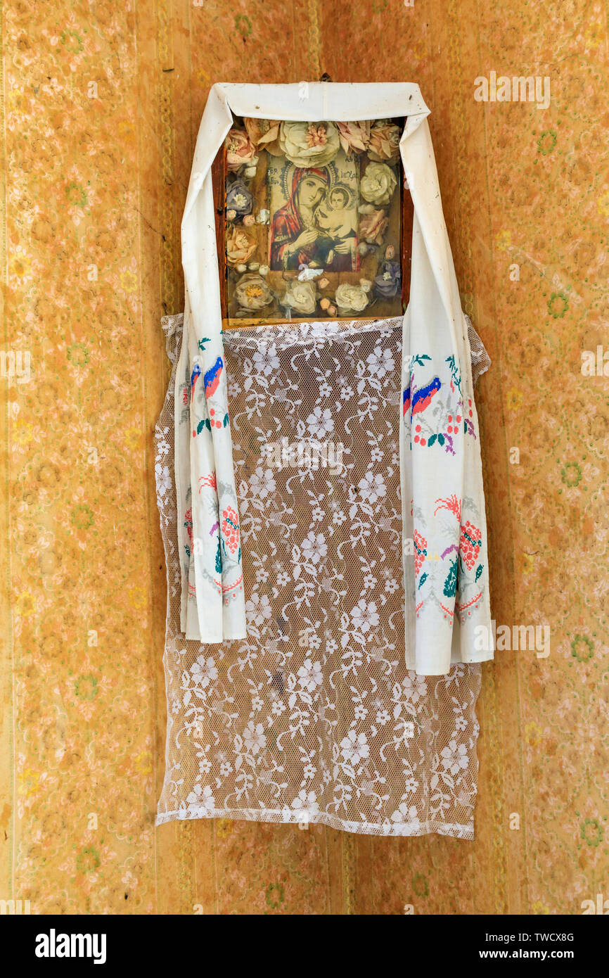 Eastern Europe, Ukraine, Pripyat, Chernobyl. Religious icon on house interior wall. - Stock Image