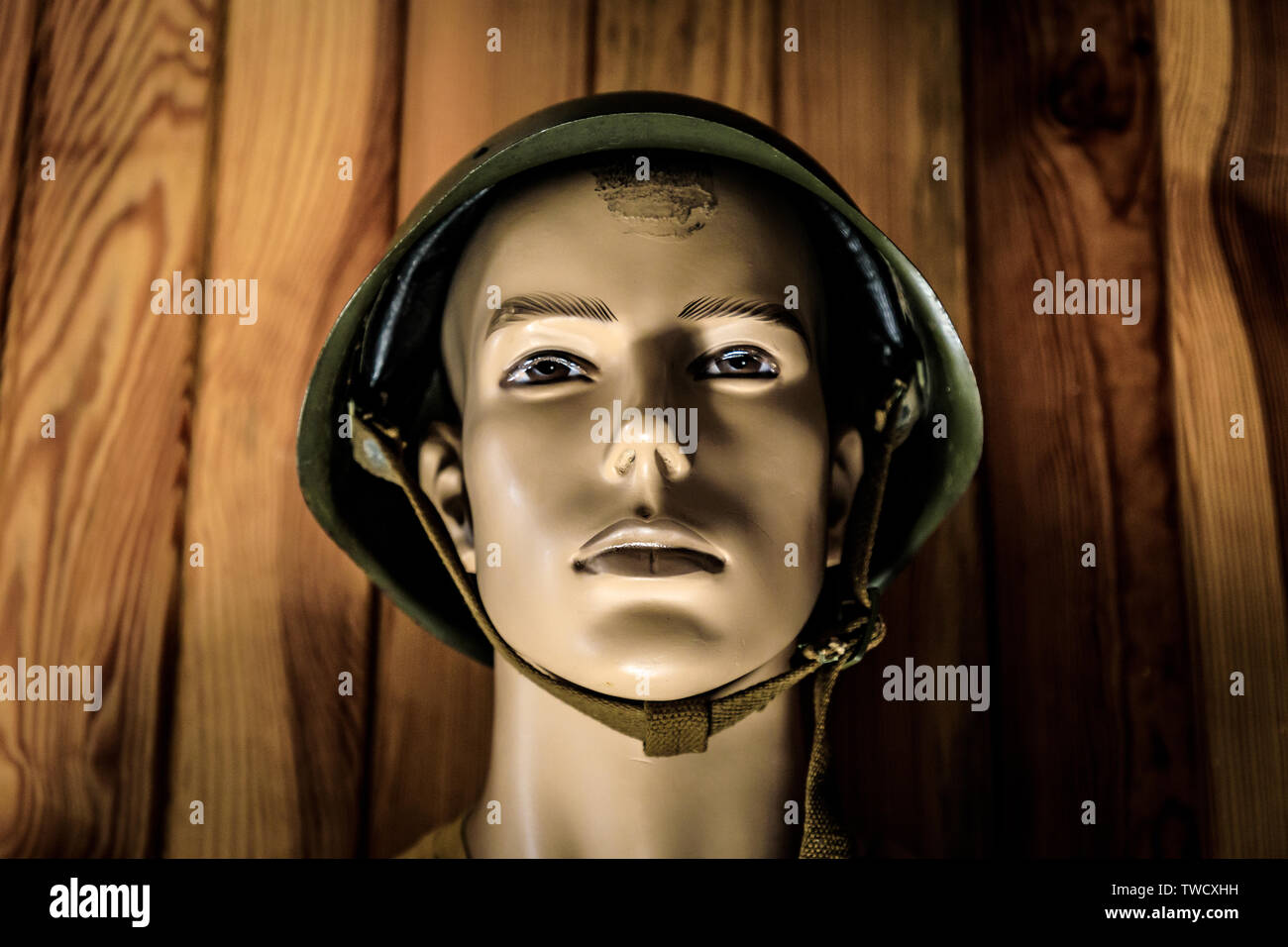 Eastern Europe, Ukraine, Pripyat, Chernobyl. Helmet on a mannequin head. - Stock Image