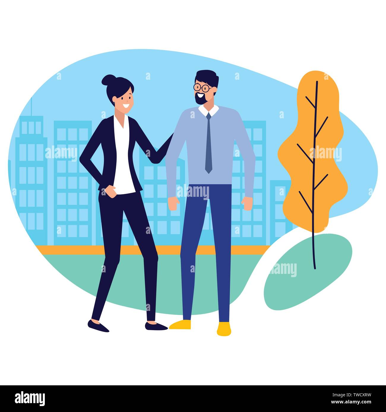 business man and woman city street vector illustration - Stock Image