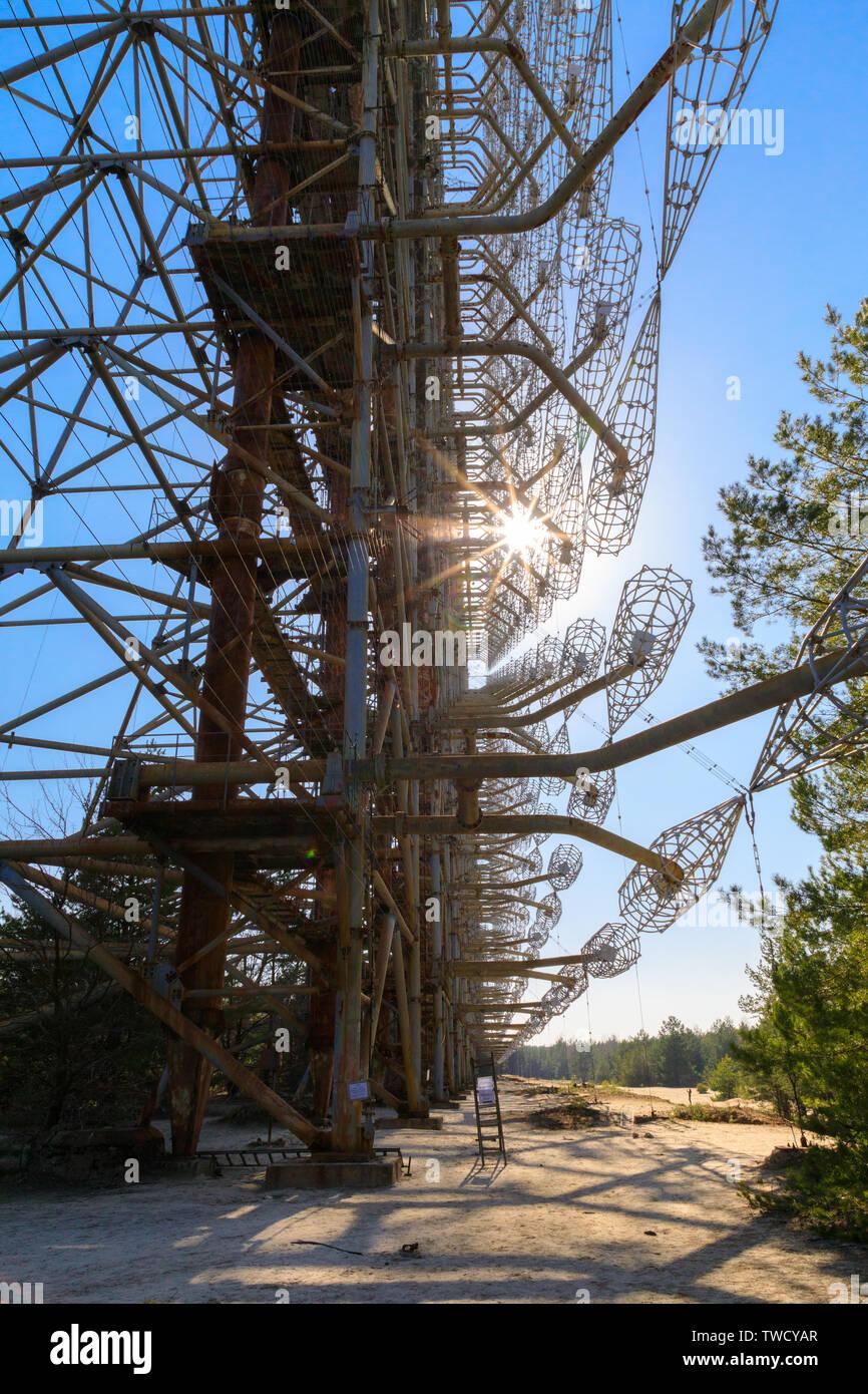 Eastern Europe, Ukraine, Pripyat, Chernobyl. Duga-1 radar array. - Stock Image