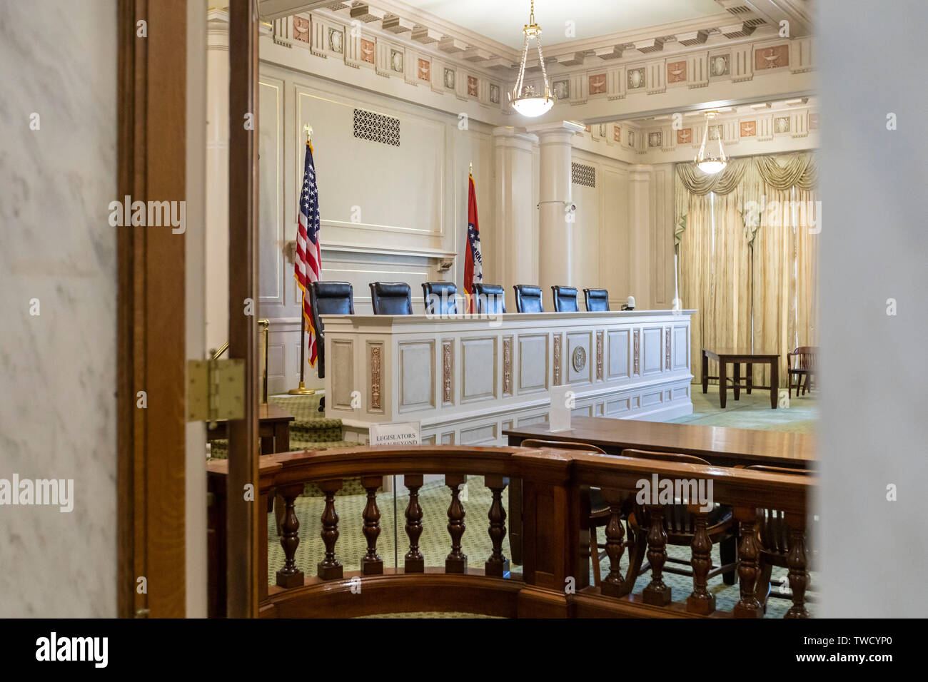 Little Rock, Arkansas - The old Supreme Court chamber in the Arkansas state capitol building. - Stock Image