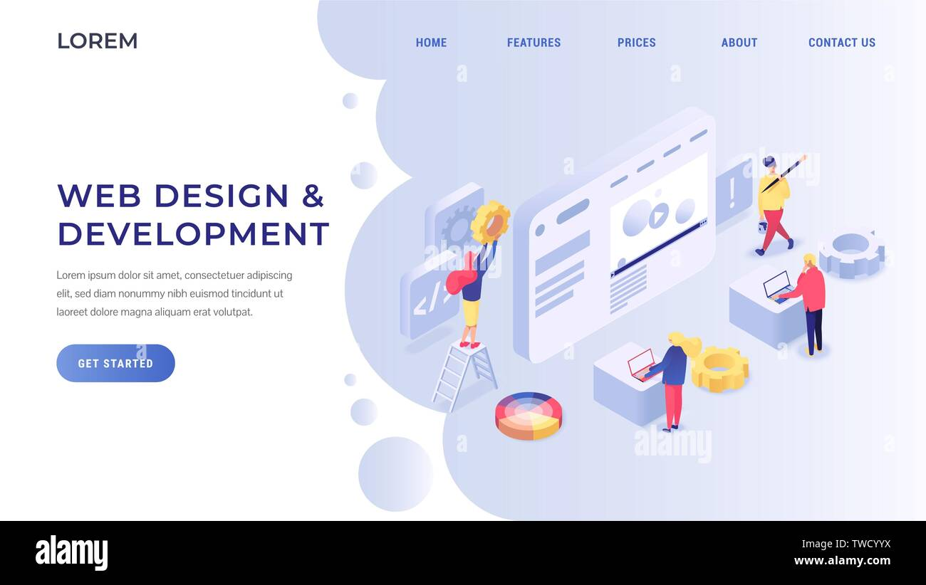 Web Design And Development Landing Page Concept Developers And Specialists Testing Website And Mobile Application Flat Isometric Vector Illustration Stock Vector Image Art Alamy