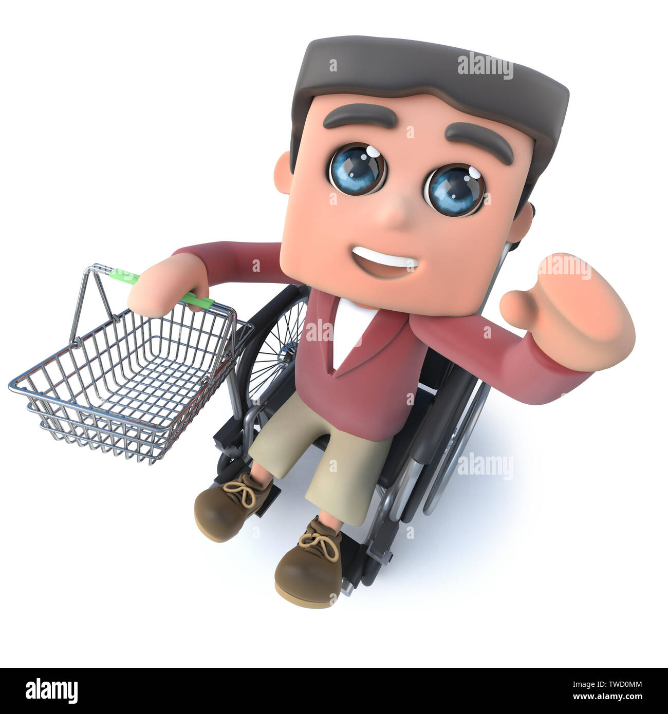 3d render of a cartoon boy in wheelchair holding a shopping basket - Stock Image