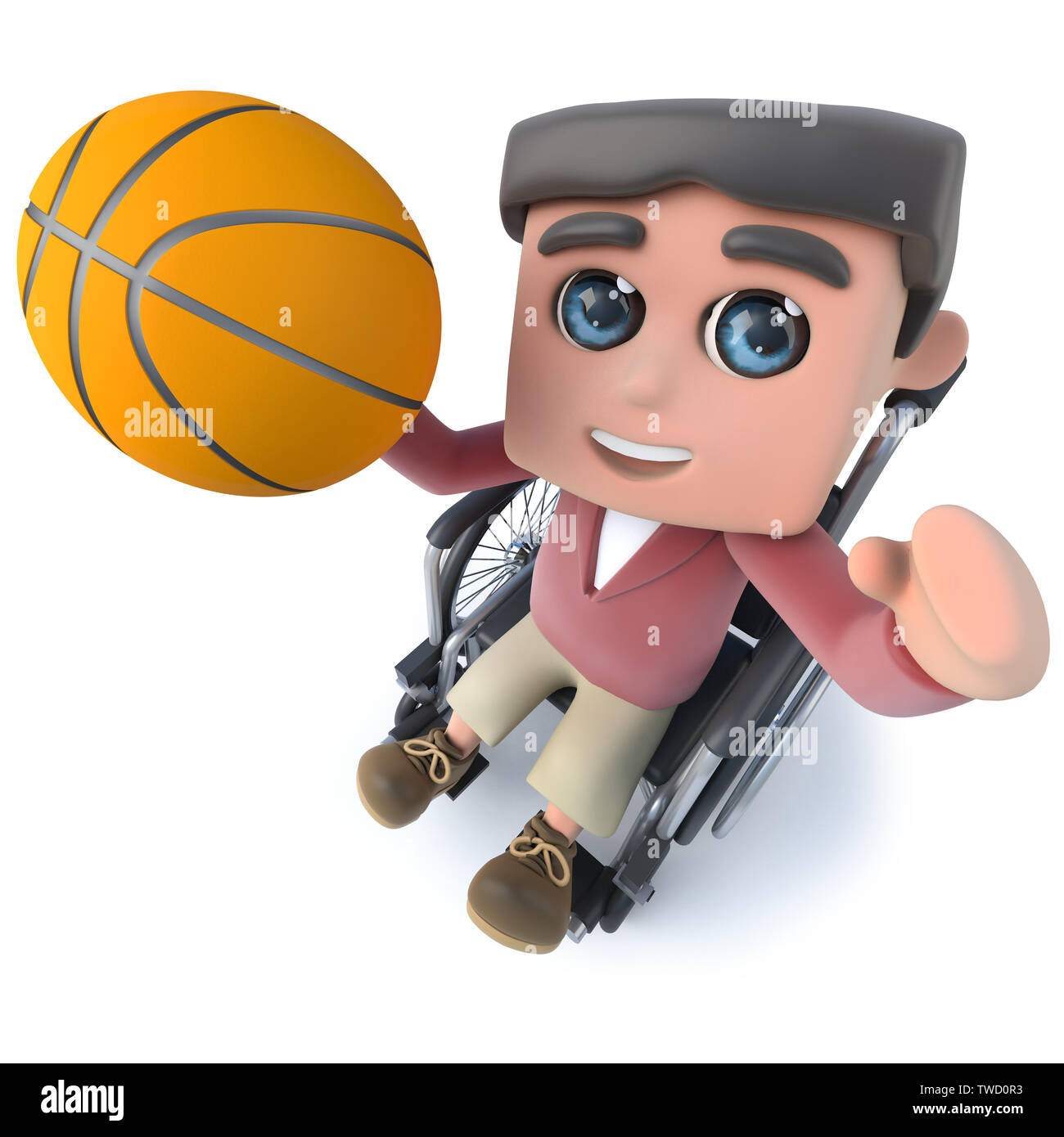 3d render of a funny cartoon teenager in a wheelchair character playing basketball - Stock Image