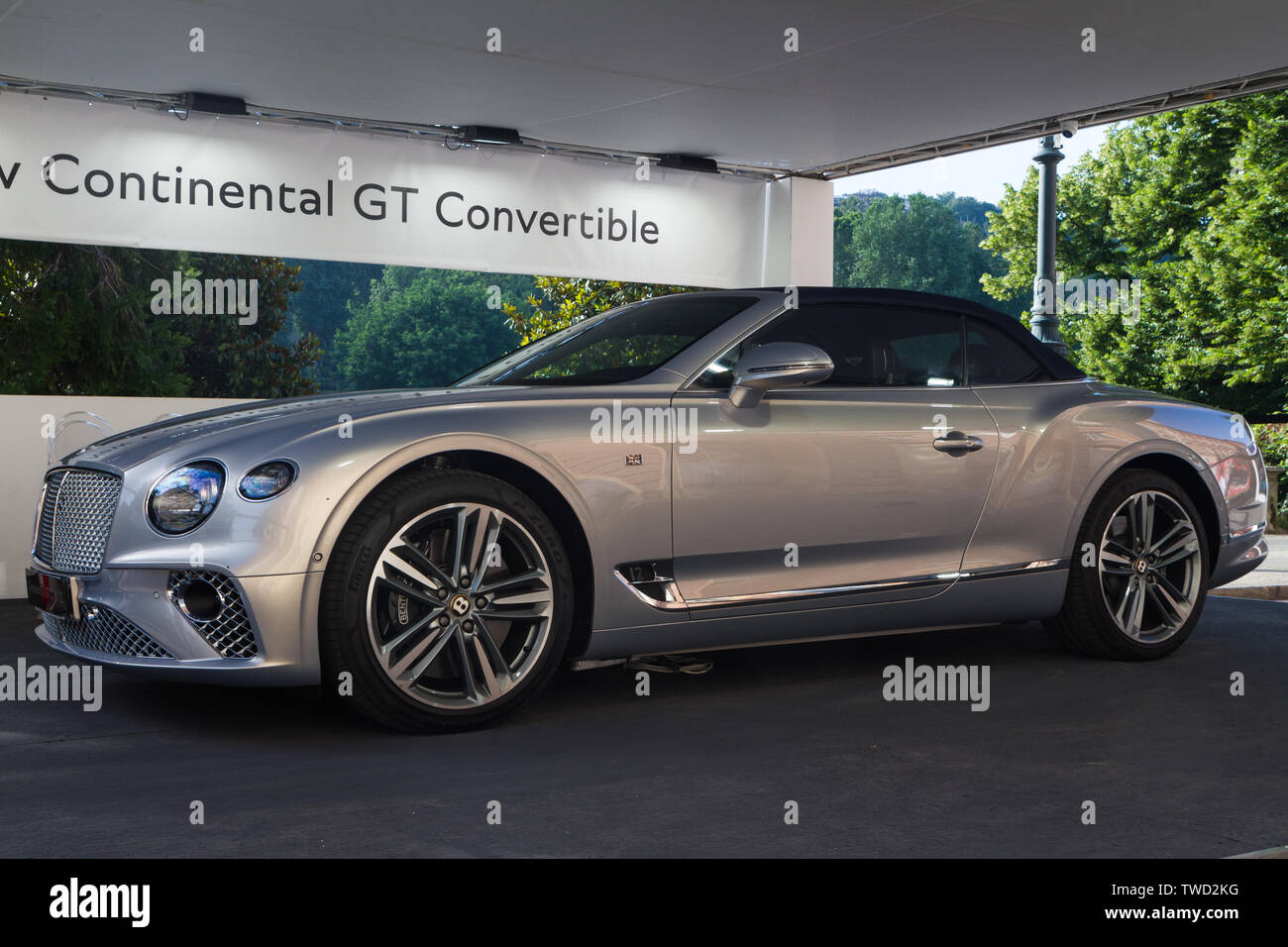A Bentley Continental Gt Convertible 2019 Edition Of Parco Valentino Car Show Hosts Cars By Many Brands And Car Designers In Valentino Park In Torino Italy Stock Photo Alamy