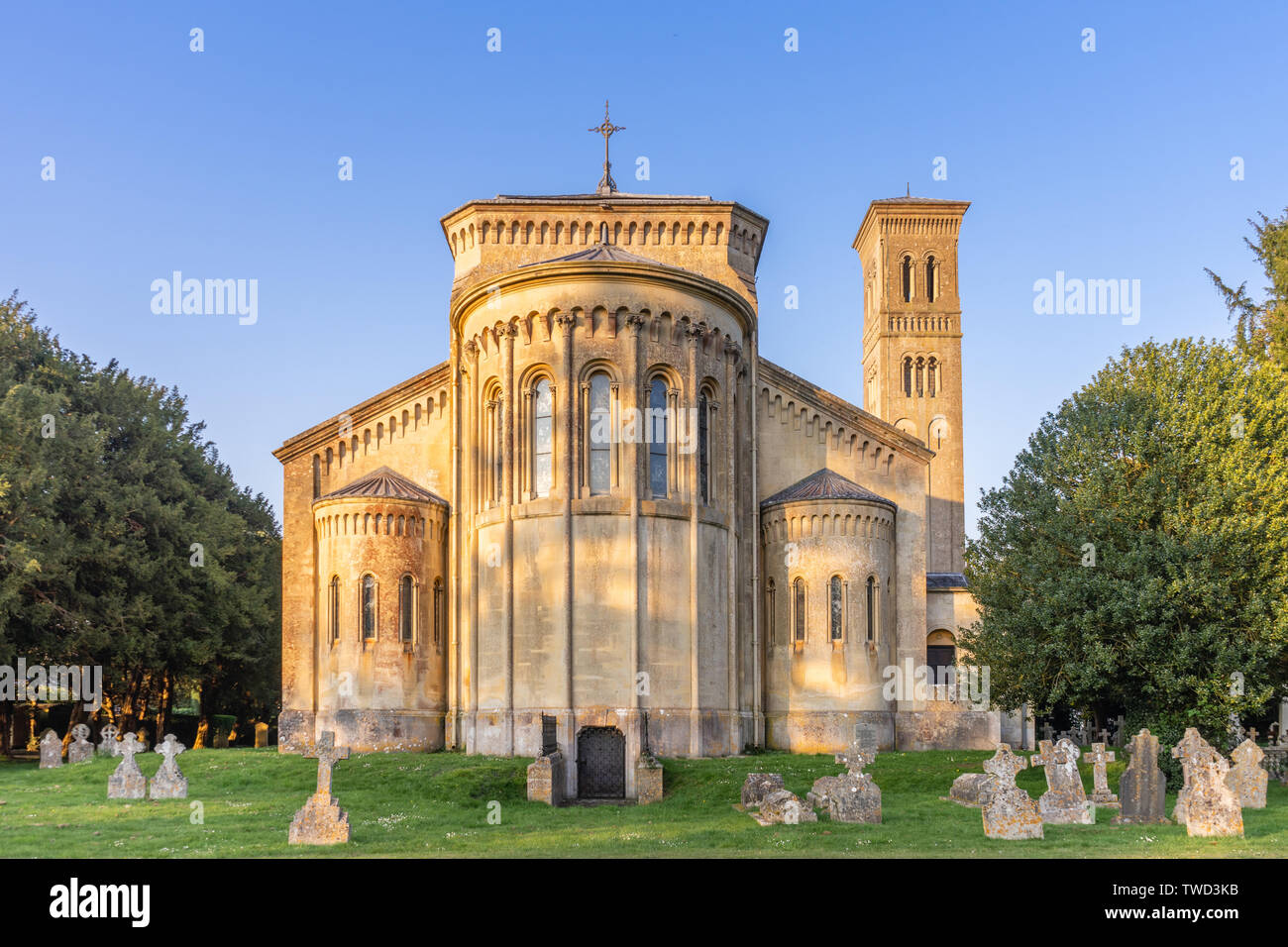 19th century St Mary and St Nicholas' parish church in Wilton built in Italianate Romanesque architecture, Wilton, Wiltshire, England, UK Stock Photo