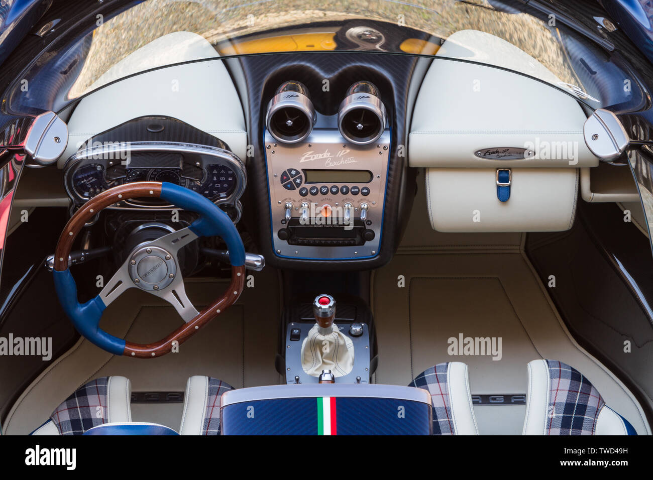 Interior View And Dashboard Of Pagani Zonda Hp Barchetta 2019 Edition Of Parco Valentino Car Show Hosts Cars By Many Brands And Car Designers Inside Valentino Park In Torino Italy Stock Photo