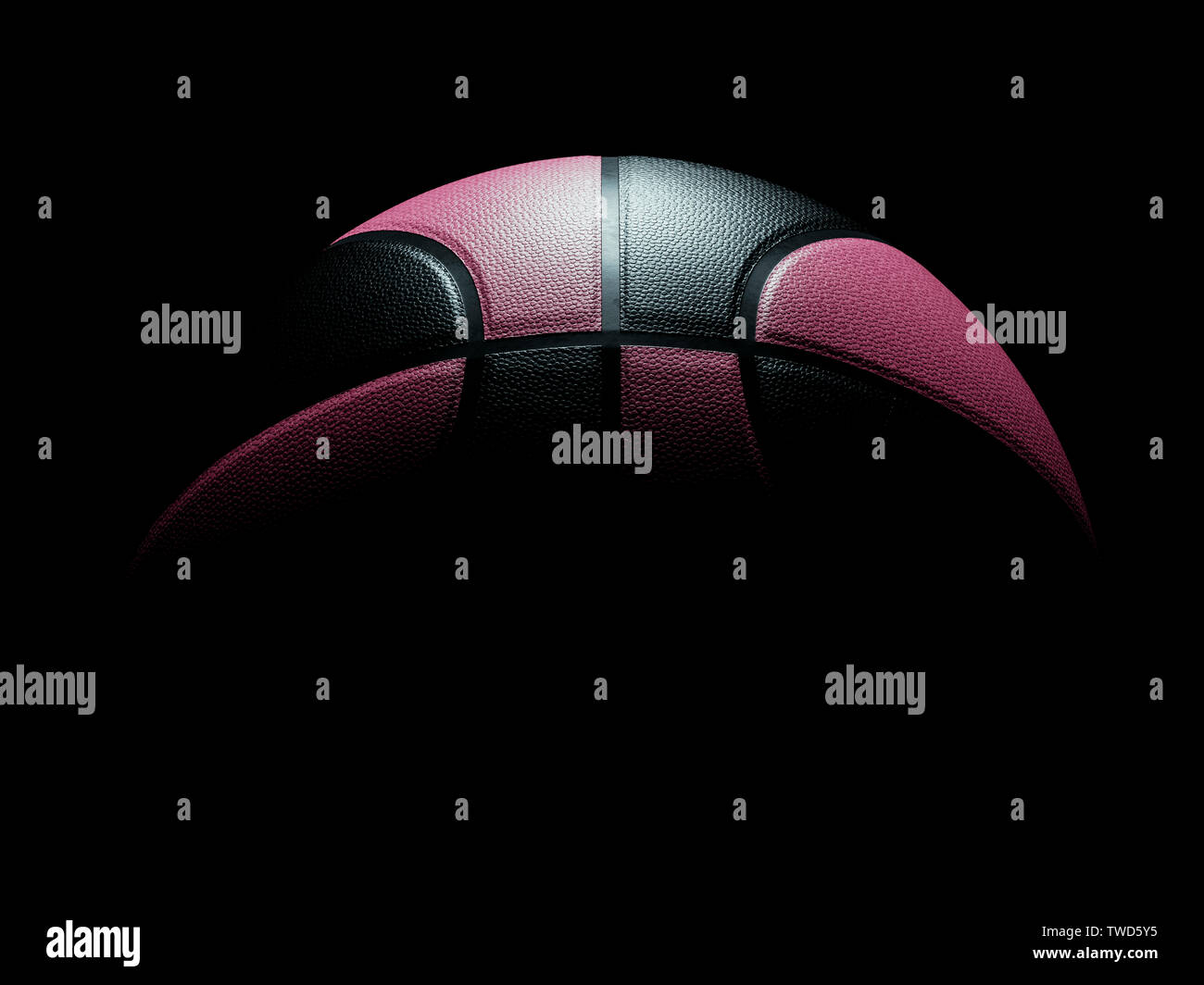 Pink And Black Colored Single Basketball For Women Or Men Sitting On Black Background Light Shining Directly On Basketball From Top Wallpaper Stock Photo Alamy