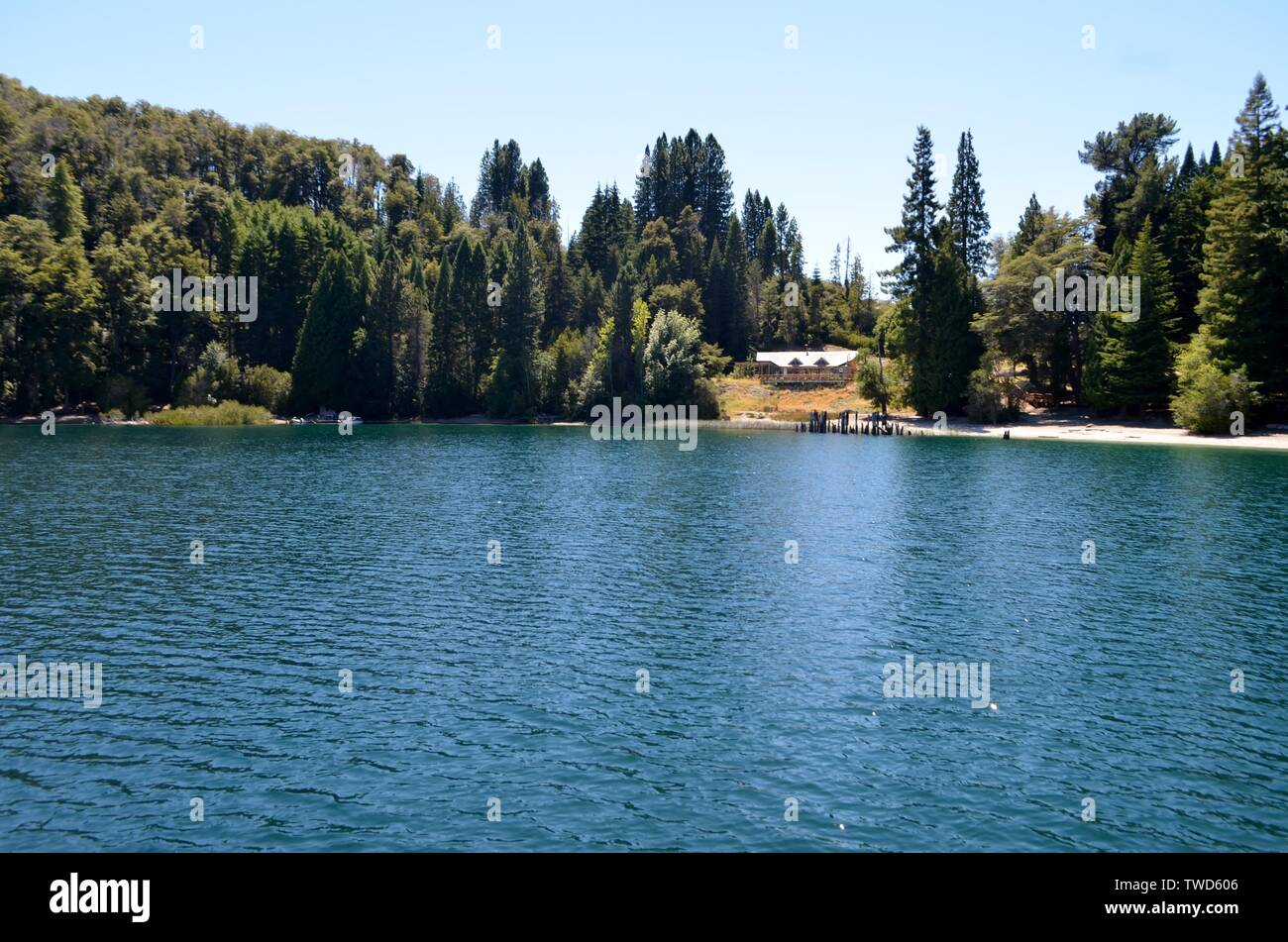 Bariloche, Argentina.Victoria Island view of the Anchorena Bay, Lake Nahuel Huapi from the side of a boat. - Stock Image