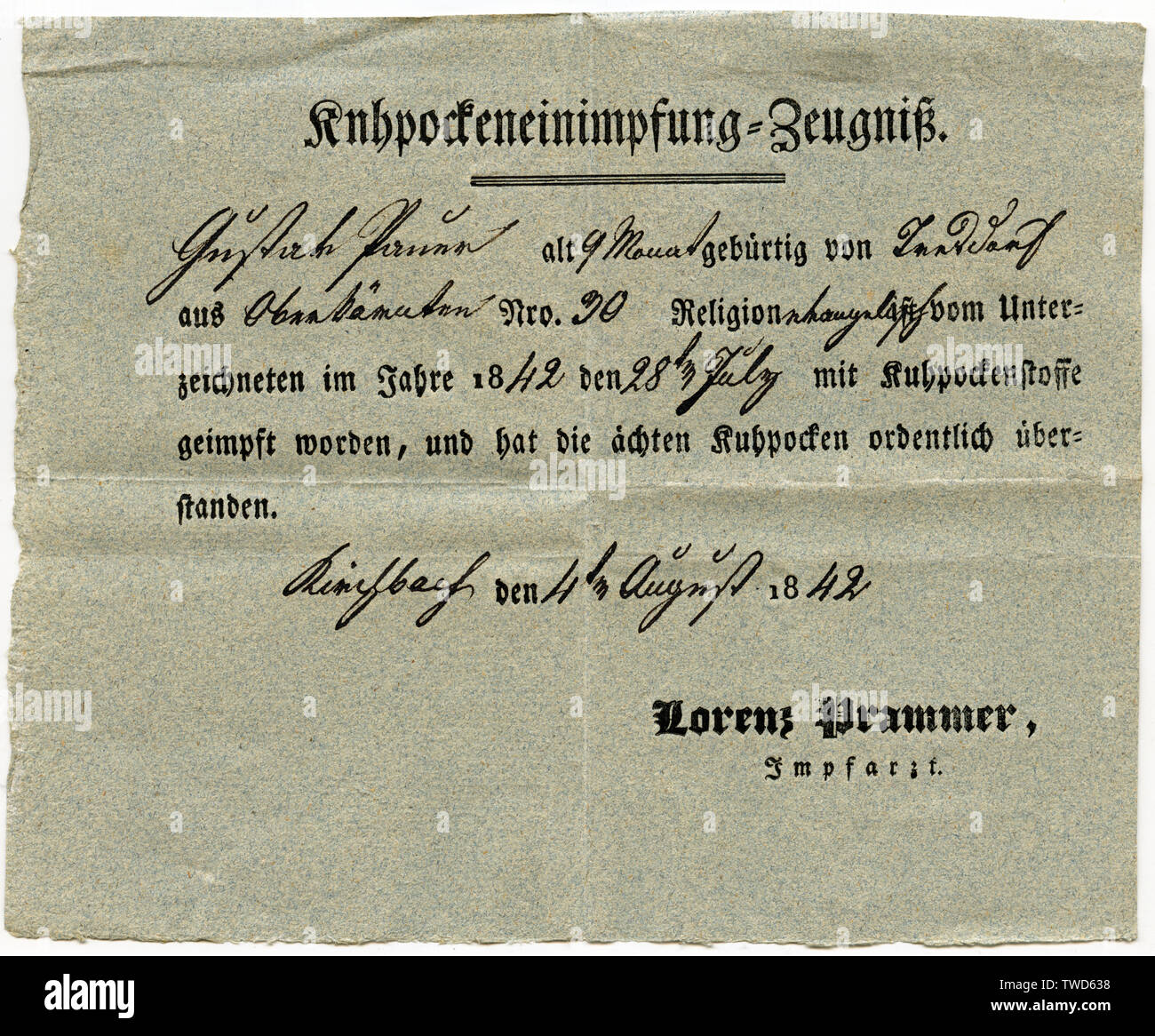 Österreich, Kärnten, Oberkärnten, Impfzeugnis - Kuhpockeneinimpfung=Zeugnis - , geschrieben in der Kanzleischrift : Gustav Pamer , alt 9 Monate, gebür Stock Photo