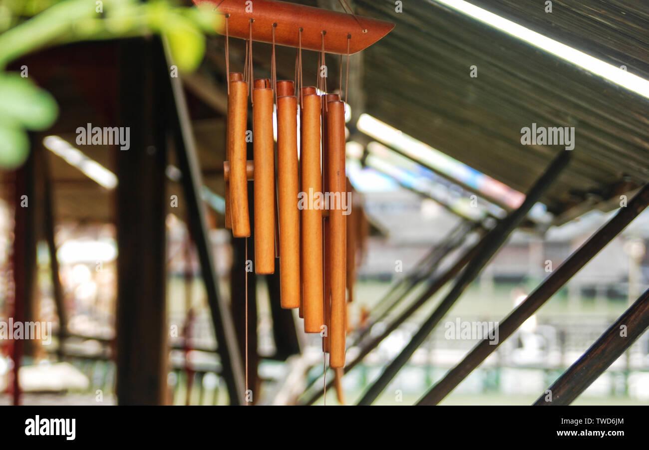 Bamboo wind chimes Stock Photo