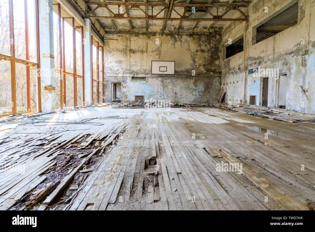 Eastern Europe, Ukraine, Pripyat, Chernobyl. Basketball court. - Stock Image