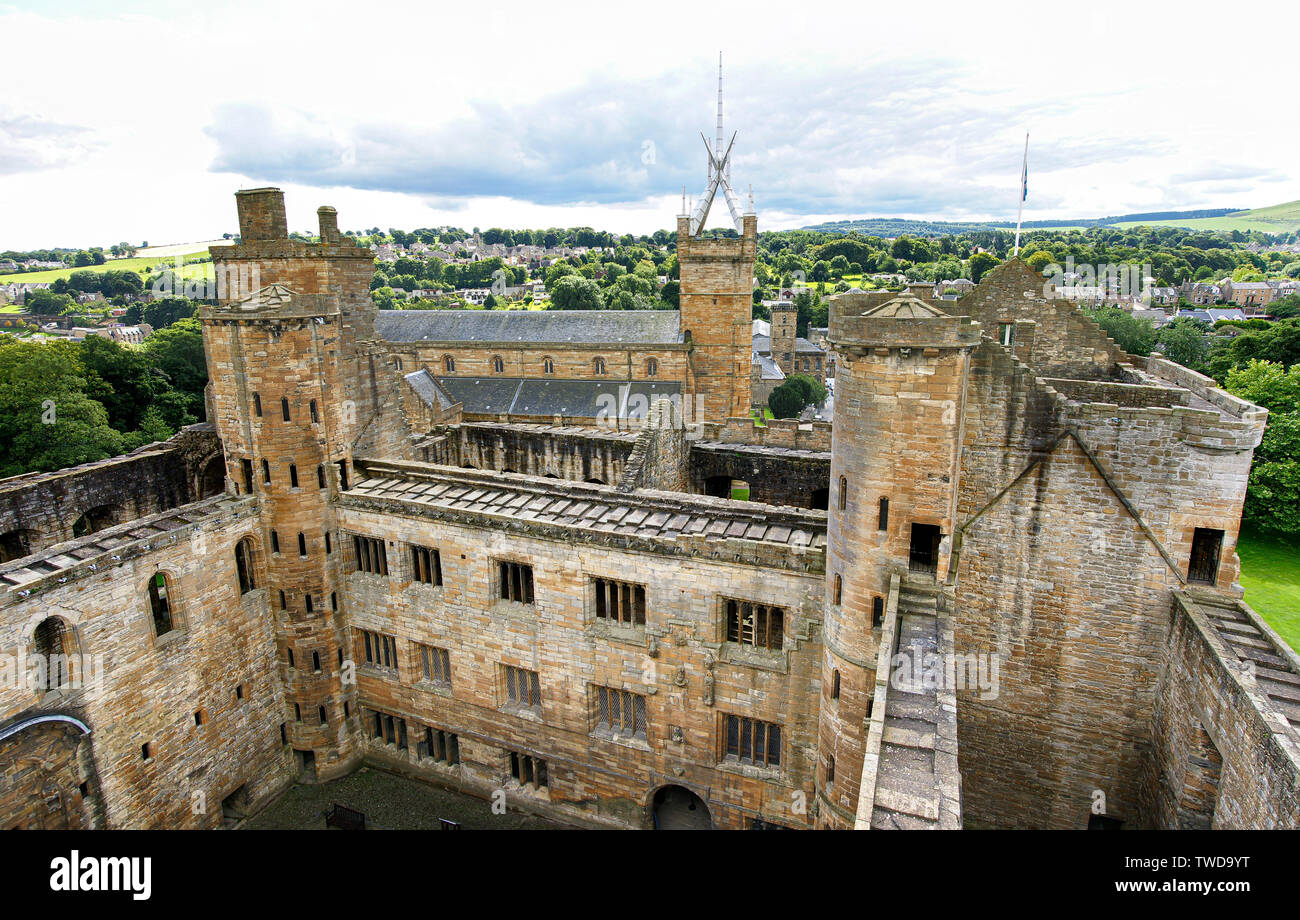 Scotland, United Kingdom - October 8, 2010: Interior of a Scottish castle seen from above. - Stock Image