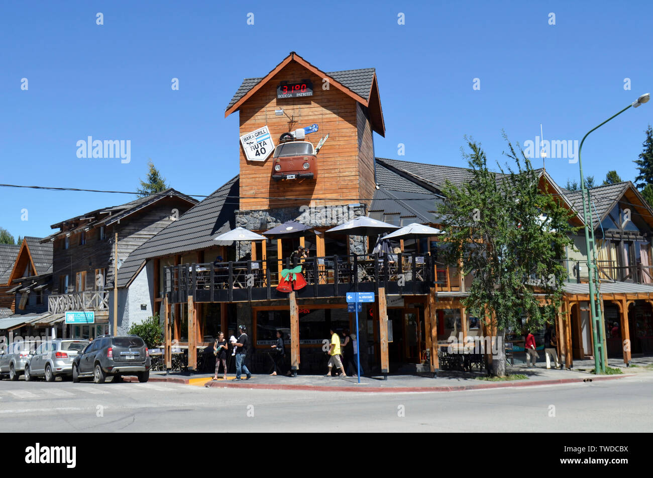 Bariloche, Argentina.Building of the iconic restaurant Ruta 40 ,Victoria Island in Bariloche. - Stock Image