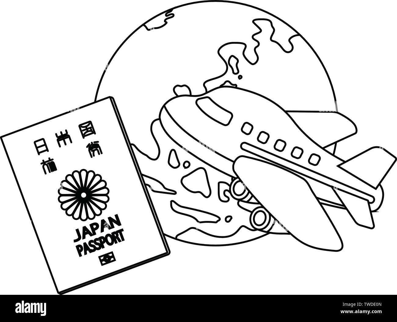 This is a Illustration of Japanese passport. Stock Vector