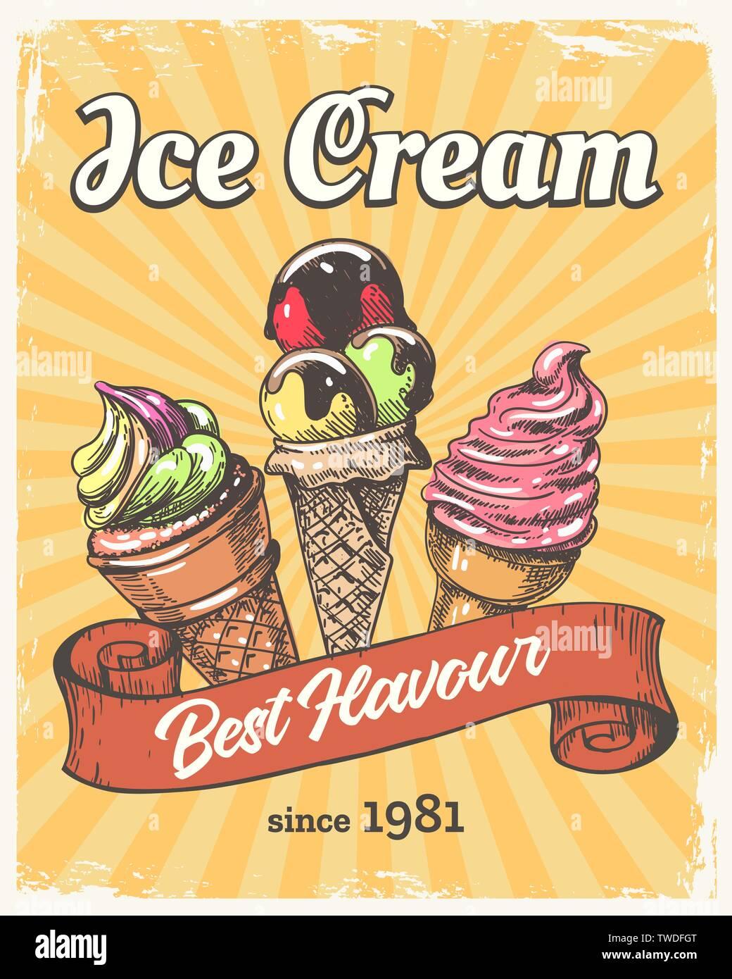 Ice cream retro poster Stock Vector