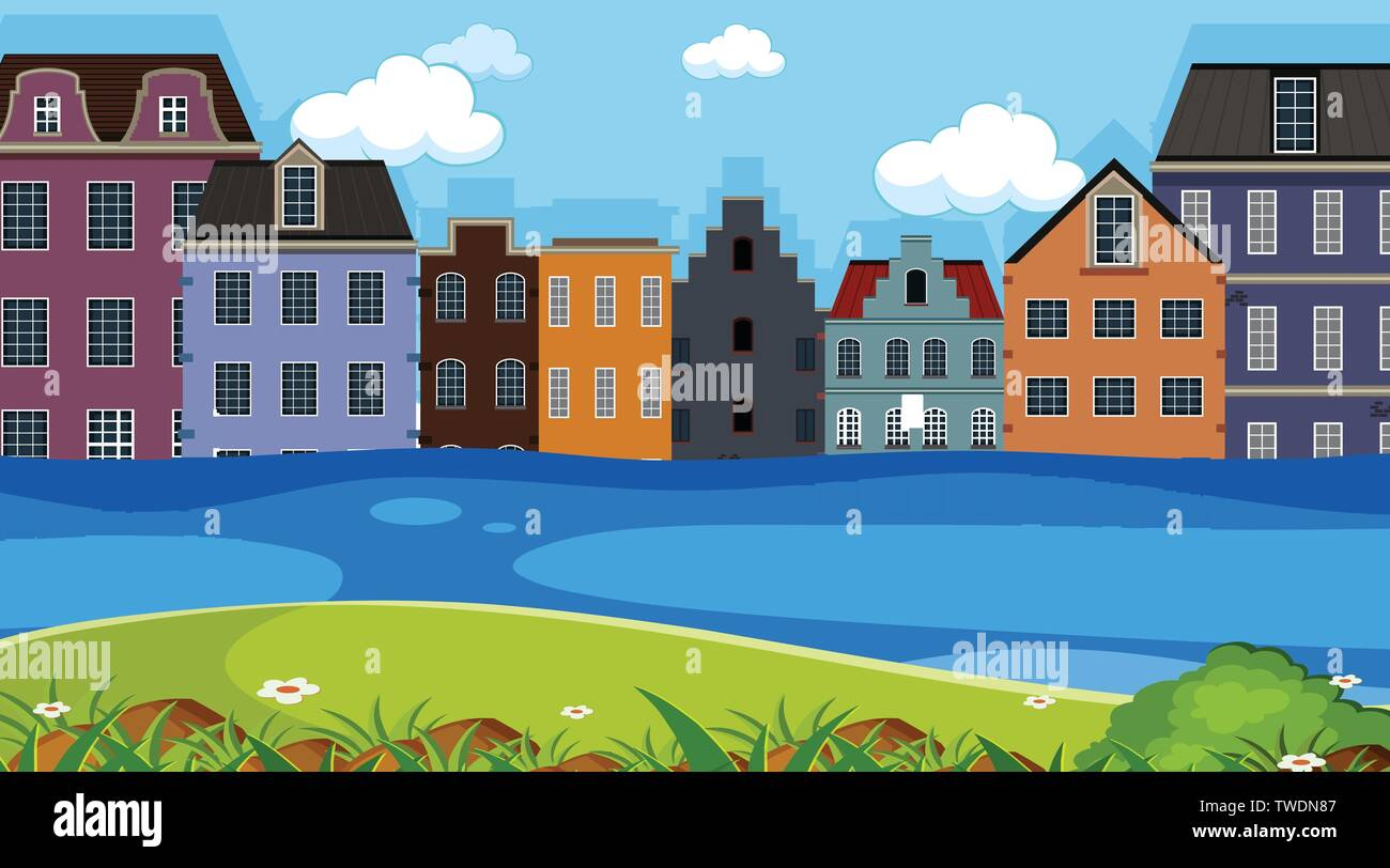 A town next to river illustration - Stock Vector