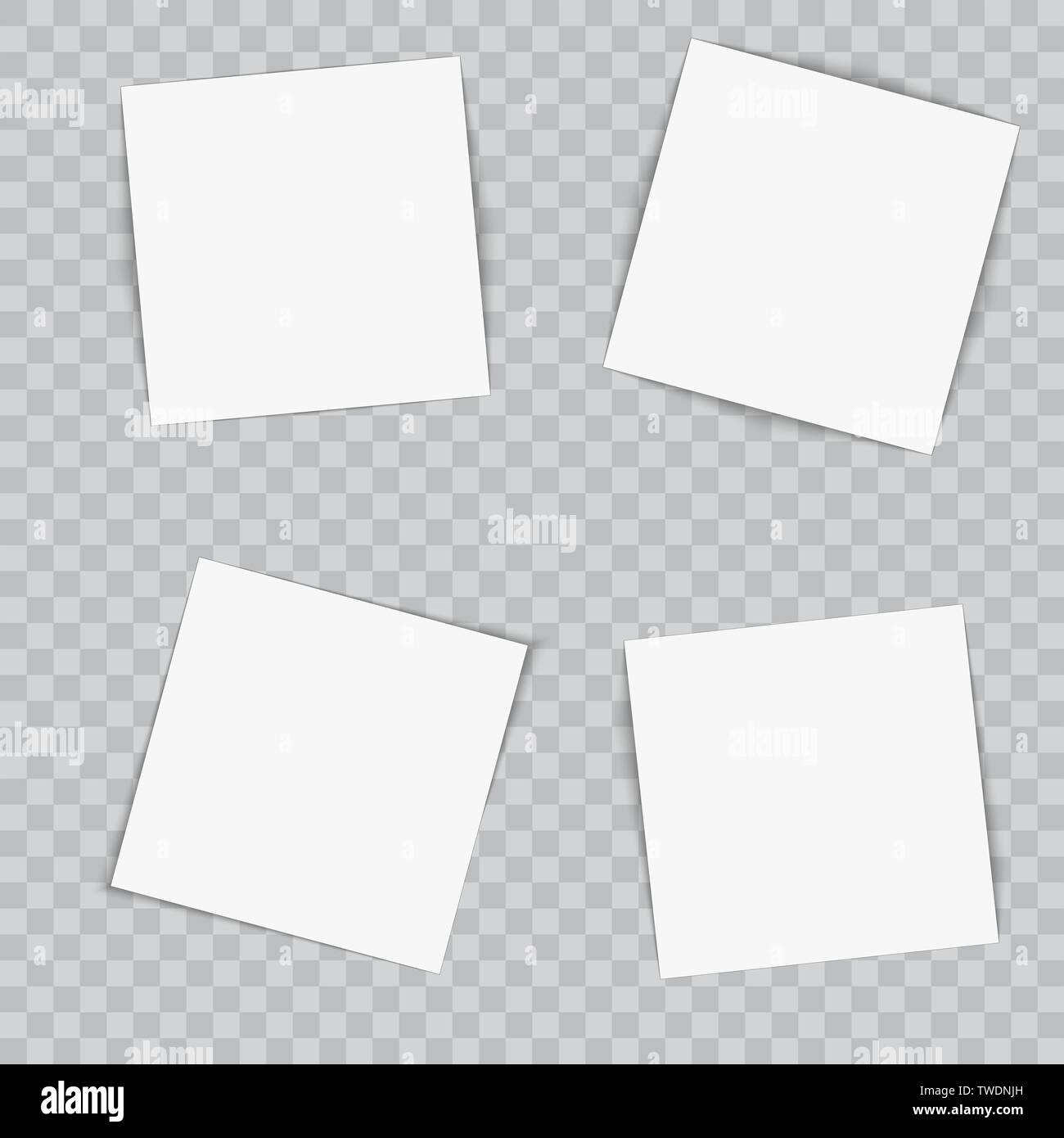 Set of paper flyers on transparent background. Vector - Stock Image