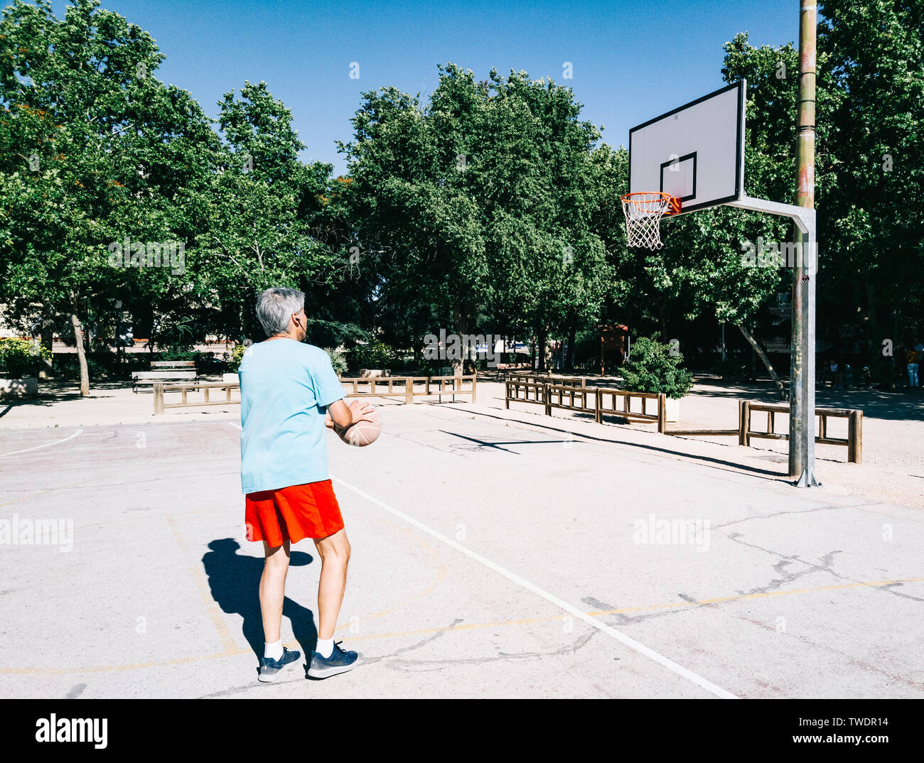 Basketball Courts In Park In Stock Photos & Basketball