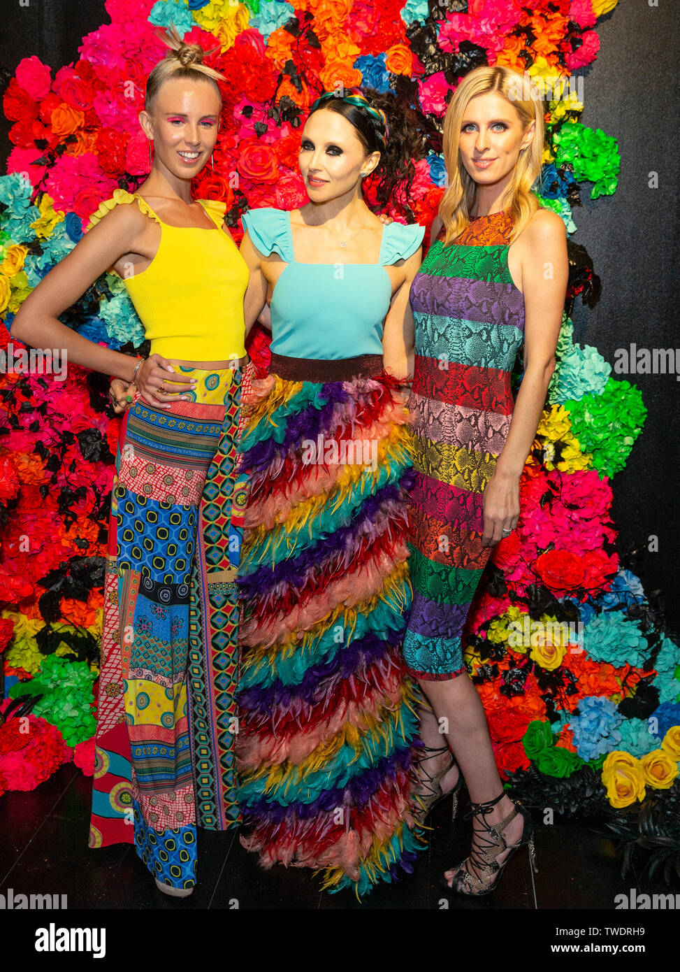 New York, United States. 18th June, 2019. Tessa Hilton, Stacey Bendet, Nicky Hilton Rothschild attend the Summer Kickoff Party for WorldPride hosted by Alice   Olivia by Stacey Bendet and the Trevor Project at Industria Studio Credit: Lev Radin/Pacific Press/Alamy Live News - Stock Image