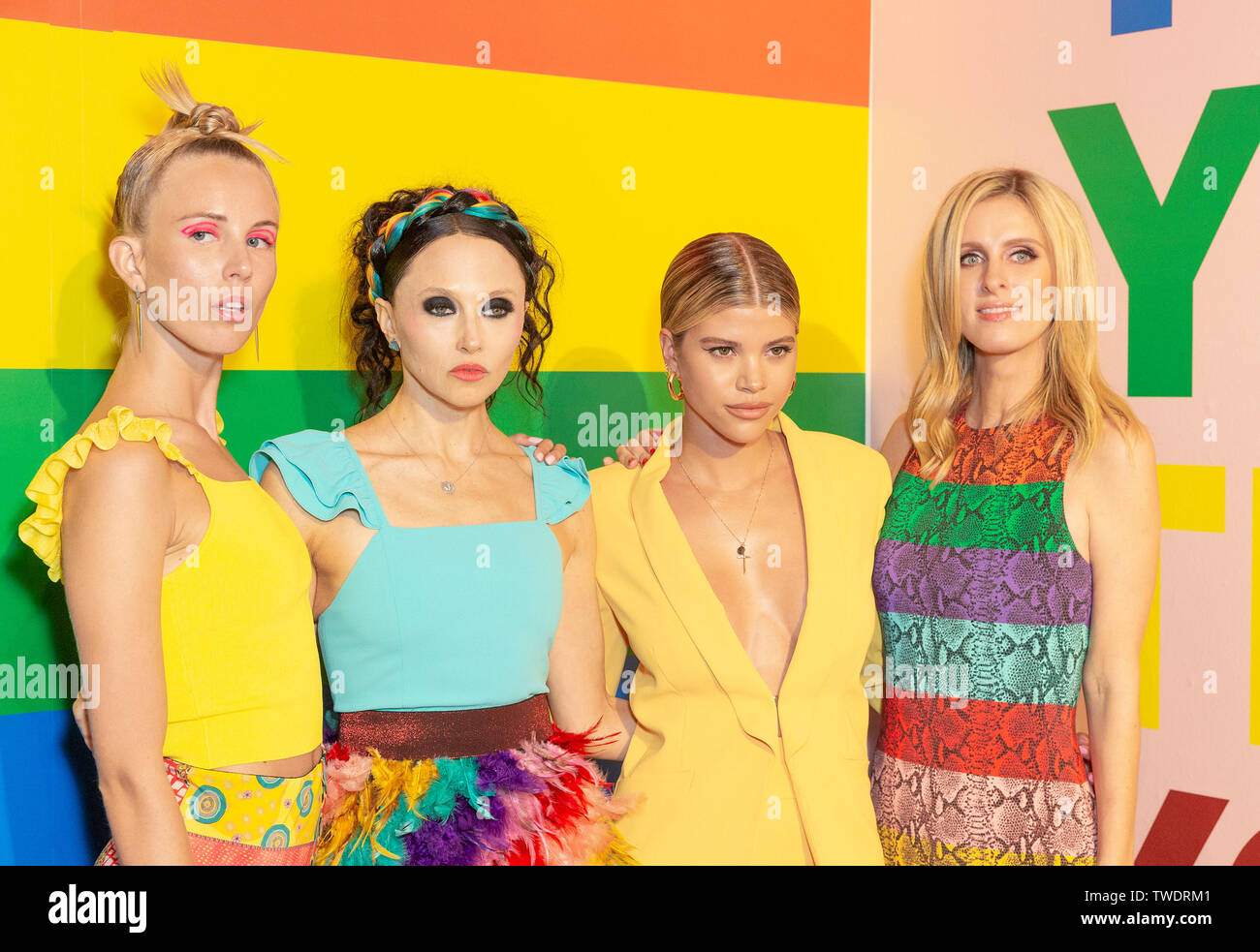 New York, United States. 18th June, 2019. Tessa Hilton, Stacey Bendet, Sofia Richie, Nicky Hilton Rothschild attend the Summer Kickoff Party for WorldPride hosted by Alice   Olivia by Stacey Bendet and the Trevor Project at Industria Studio Credit: Lev Radin/Pacific Press/Alamy Live News - Stock Image