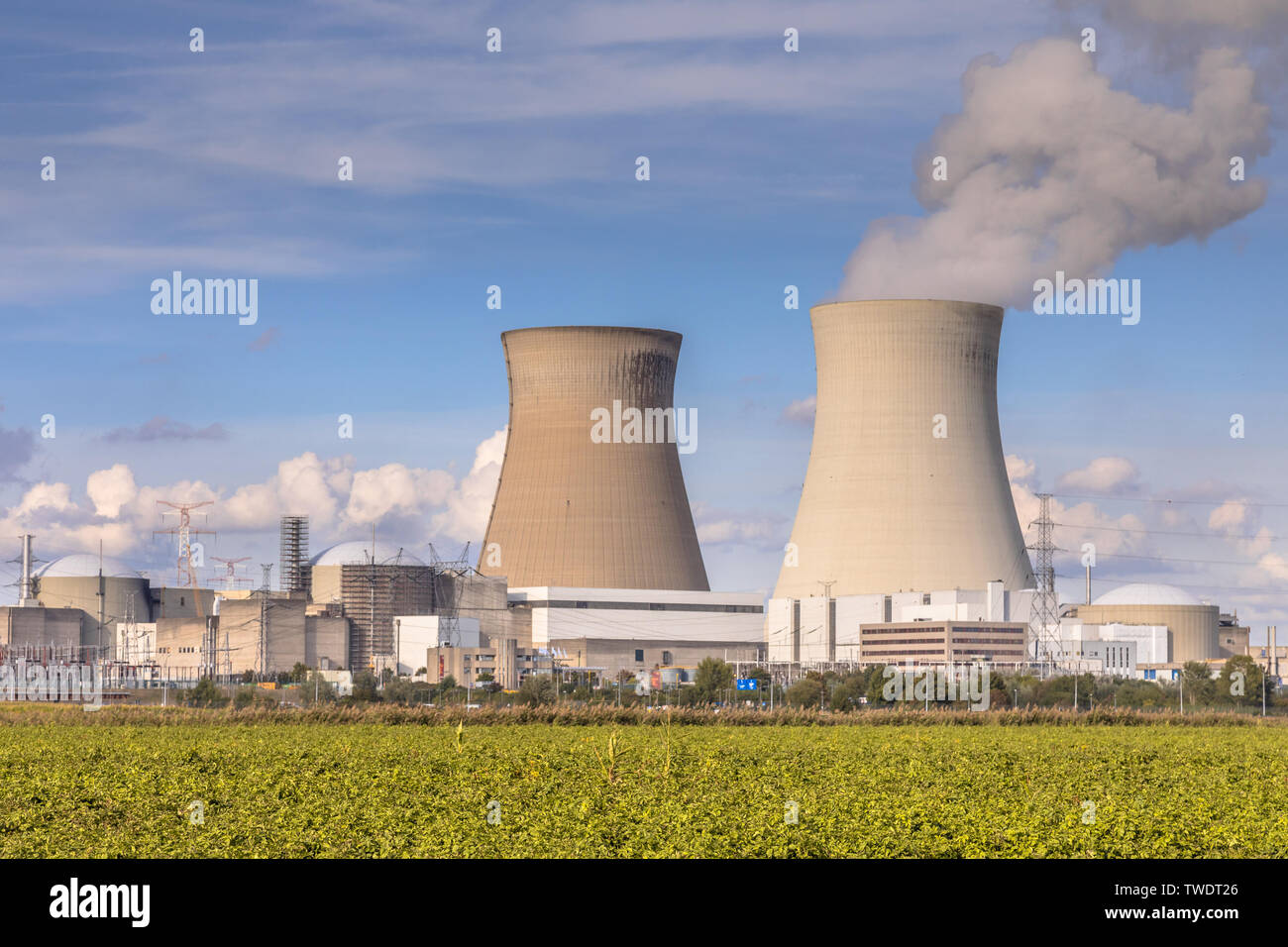 Nuclear power plant with steaming cooling towers under blue summer sky in Belgium - Stock Image