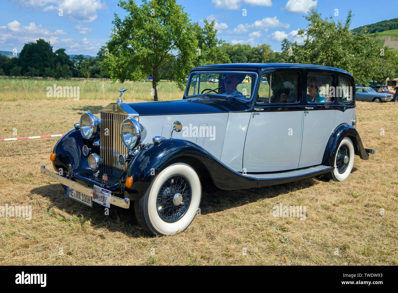 Rolls-Royce Silver Wraith, built 1950, on a meadow, Veldenz, Middle Mosel, Rhineland-Palatinate, Germany Stock Photo