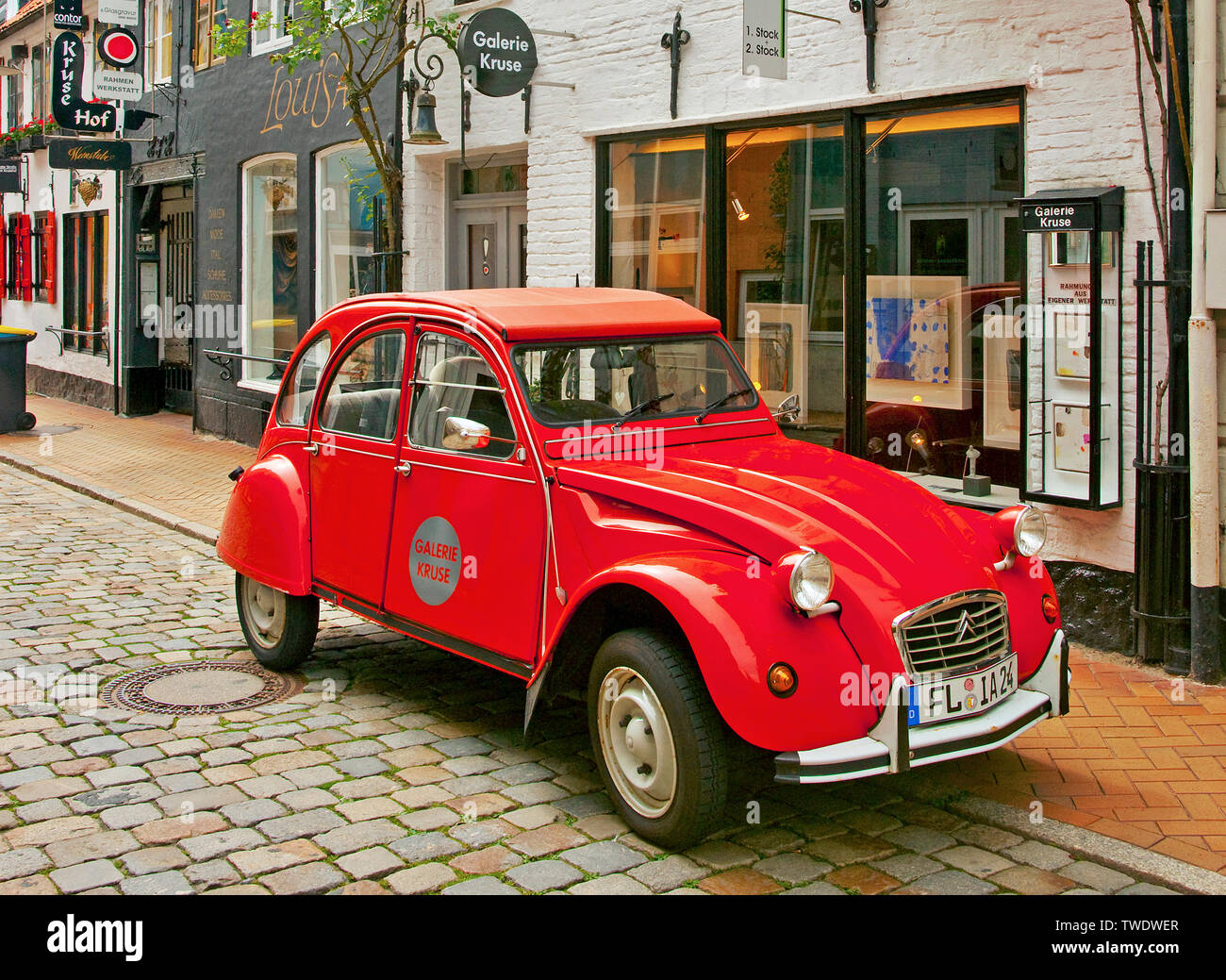 The historic car 2CV of Citroen, also known as duck (german: Ente), Flensburg, Schleswig-Holstein, Germany - Stock Image