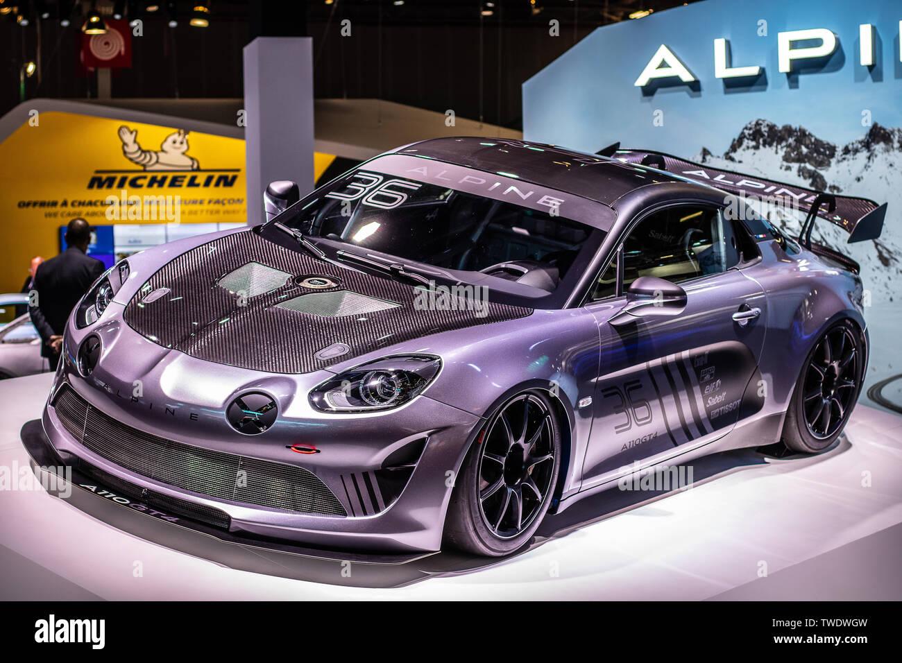 Paris, France, October 02, 2018: metallic graphite Alpine A110 GT4 sports car at Mondial Paris Motor Show, Renault's 2018 two-seater sports car - Stock Image