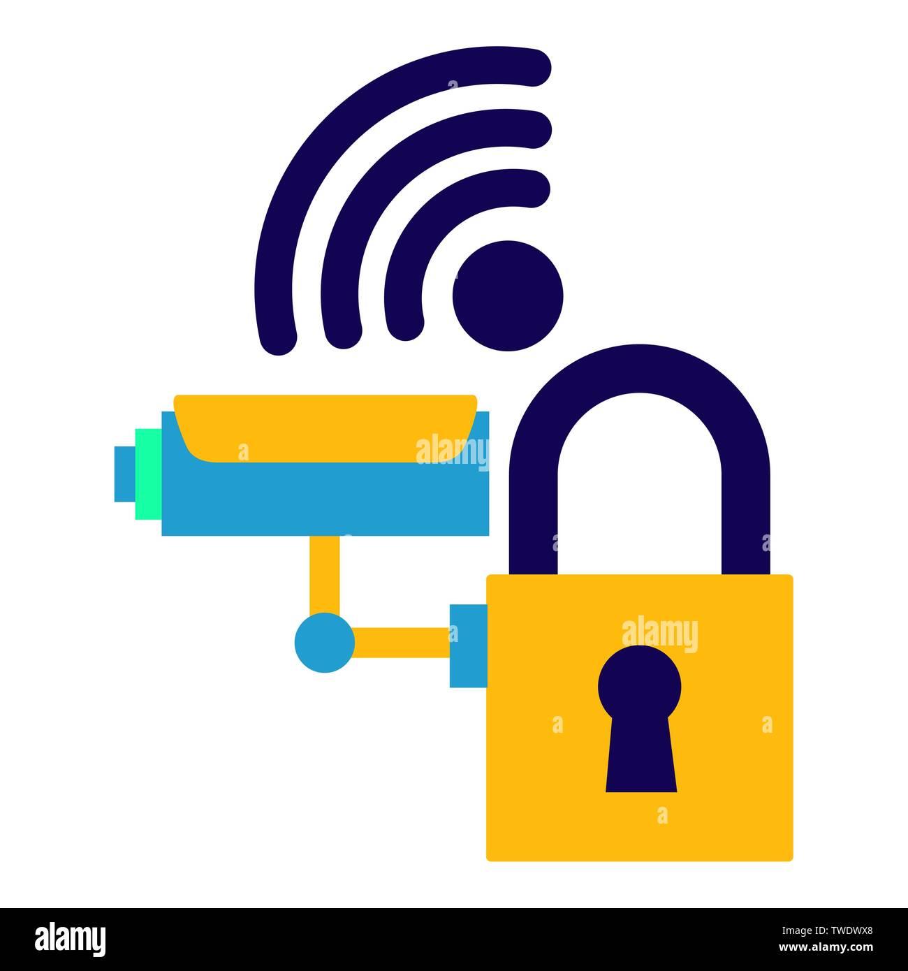 surveillance camera security internet Stock Vector