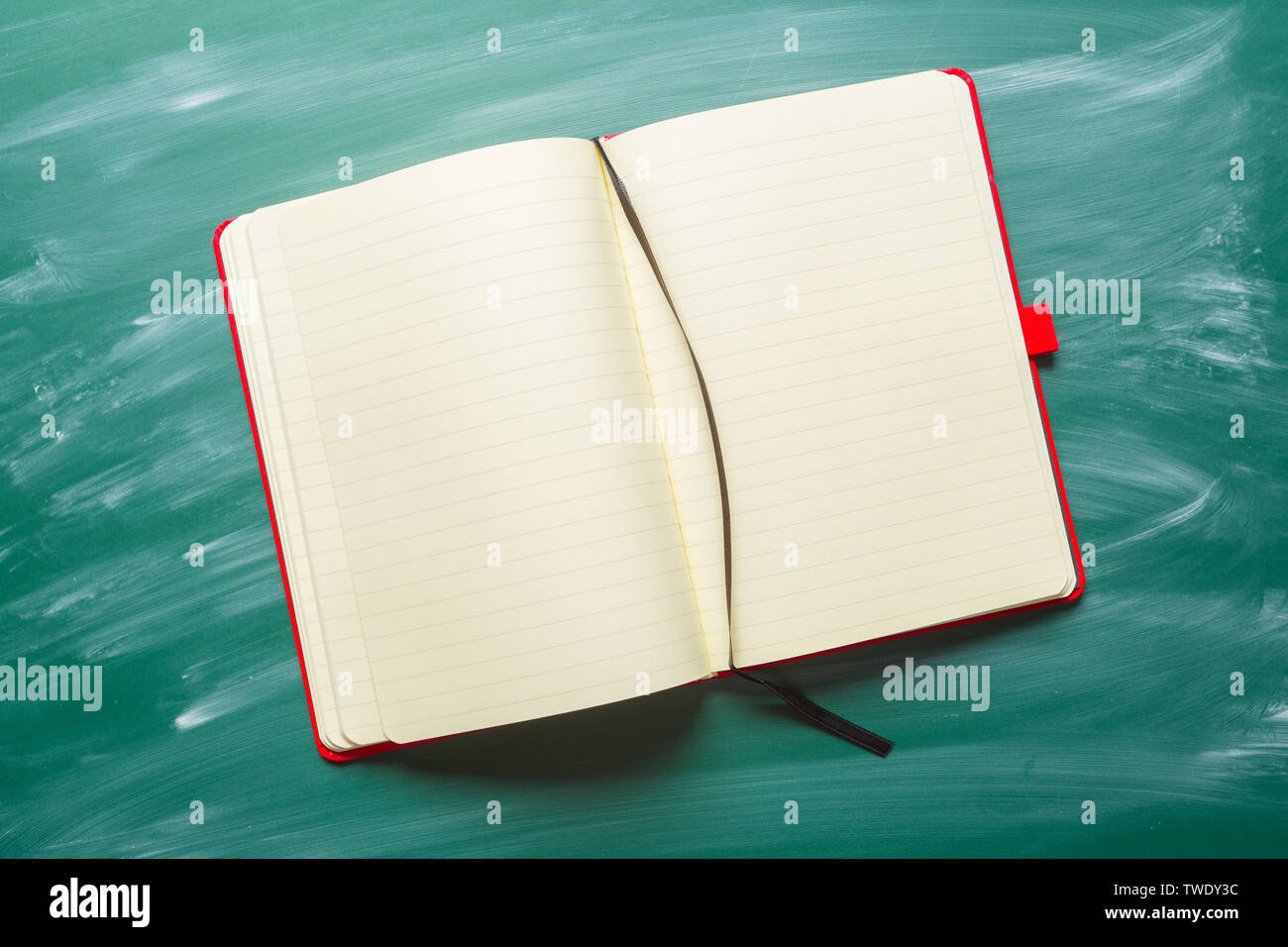 note paper on chalkboard for text - Stock Image