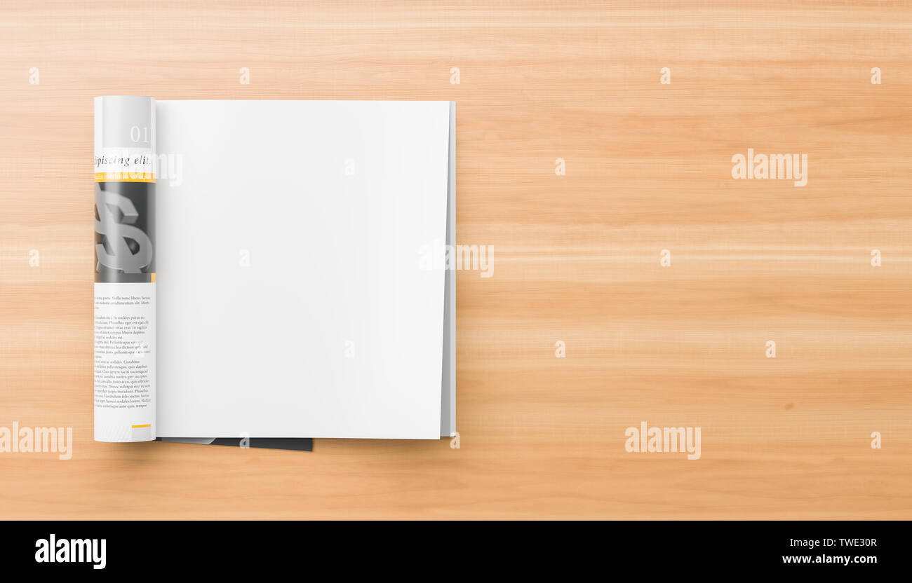 Realistic, right page isolated, square magazine or catalog mock up on wooden background. Blank square magazine page for mockups. 3D illustration. - Stock Image