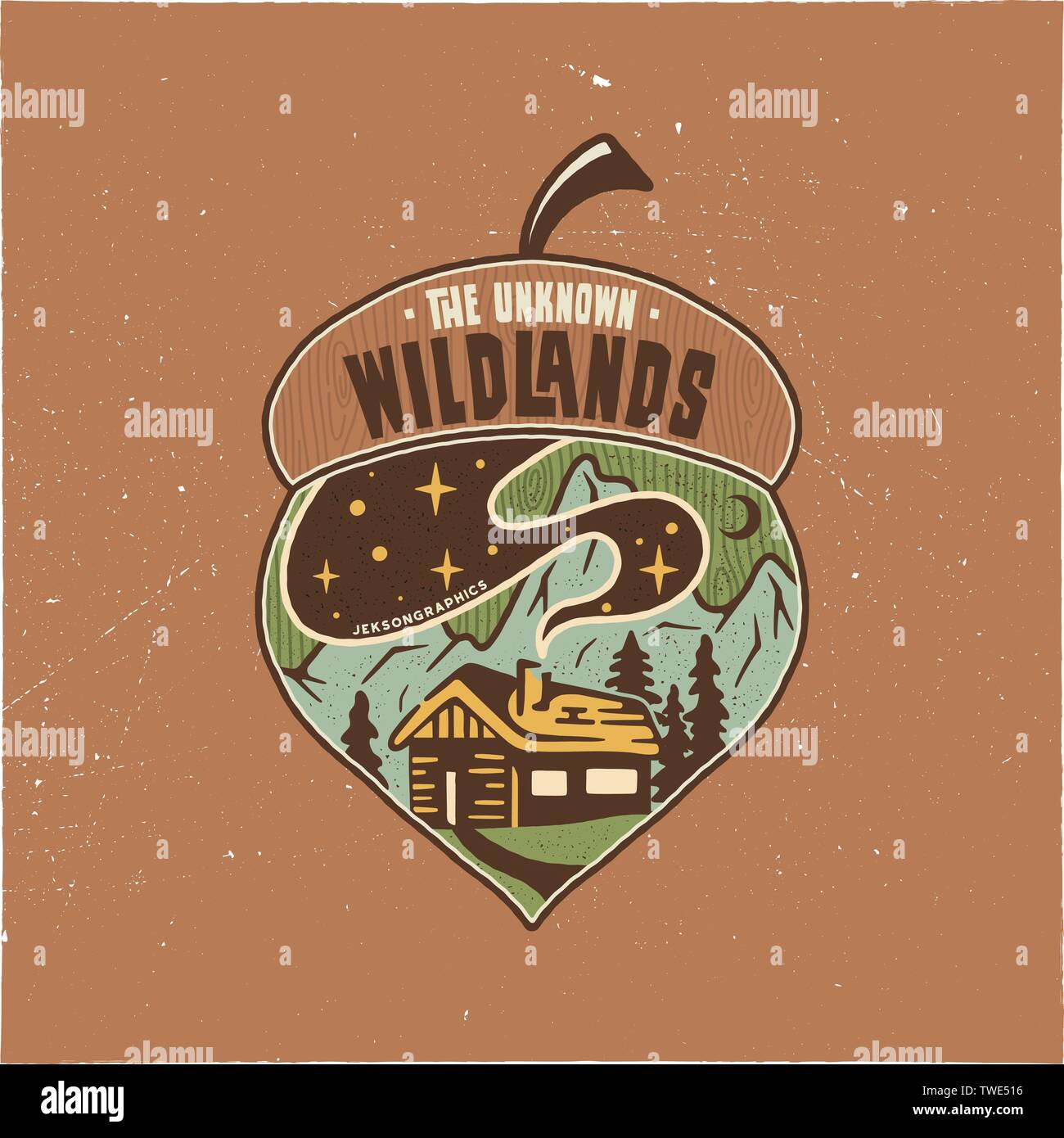 Vintage Camping badge acorn illustration design. Outdoor logo with quote - The unknown wildlands, for t shirt. Included retro mountains, woods house - Stock Vector