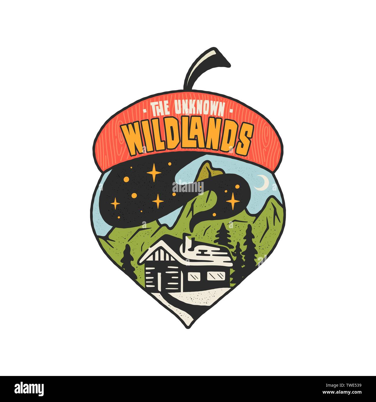 Camping badge acorn illustration design. Outdoor logo with quote - The unknown wildlands, for t shirt, posters. Included retro mountains, woods house - Stock Vector