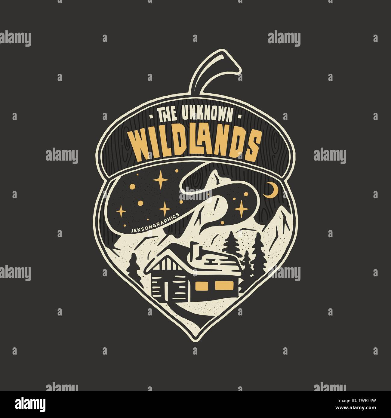 Camping badge acorn illustration design. Outdoor logo with quote - The unknown wildlands, for t shirt. Included retro mountains, woods house. Unusual - Stock Vector