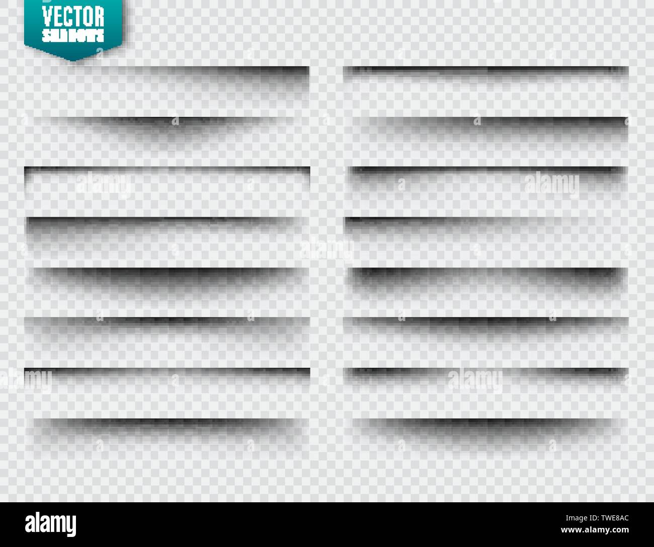 Vector shadows set. Page dividers on transparent background. Realistic isolated shadow. Vector illustration. - Stock Image