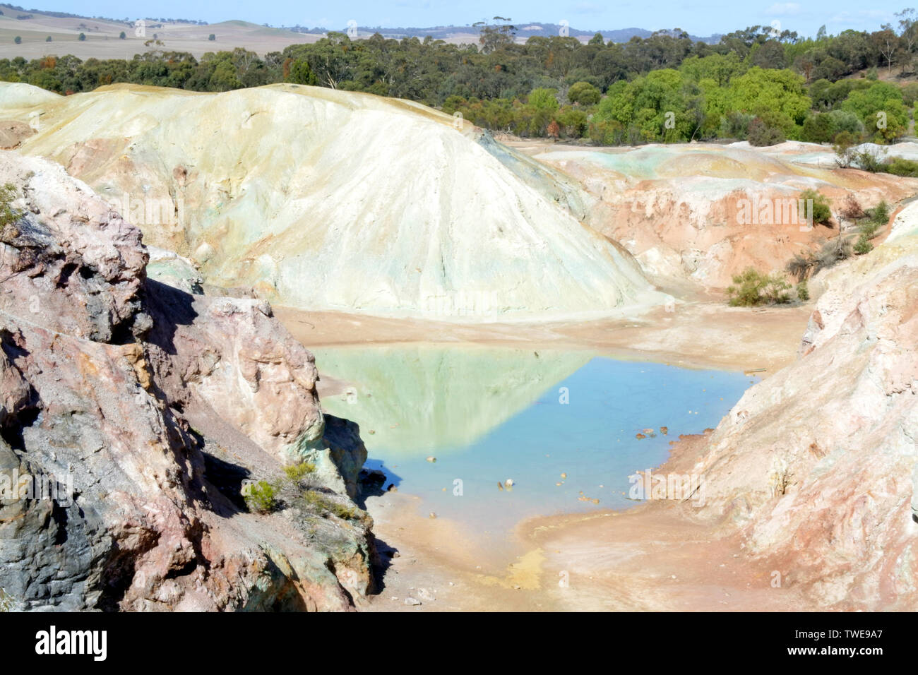 Aerial landscape view of Kapunda Copper Mine in South Australia as view from a drone point of view. - Stock Image