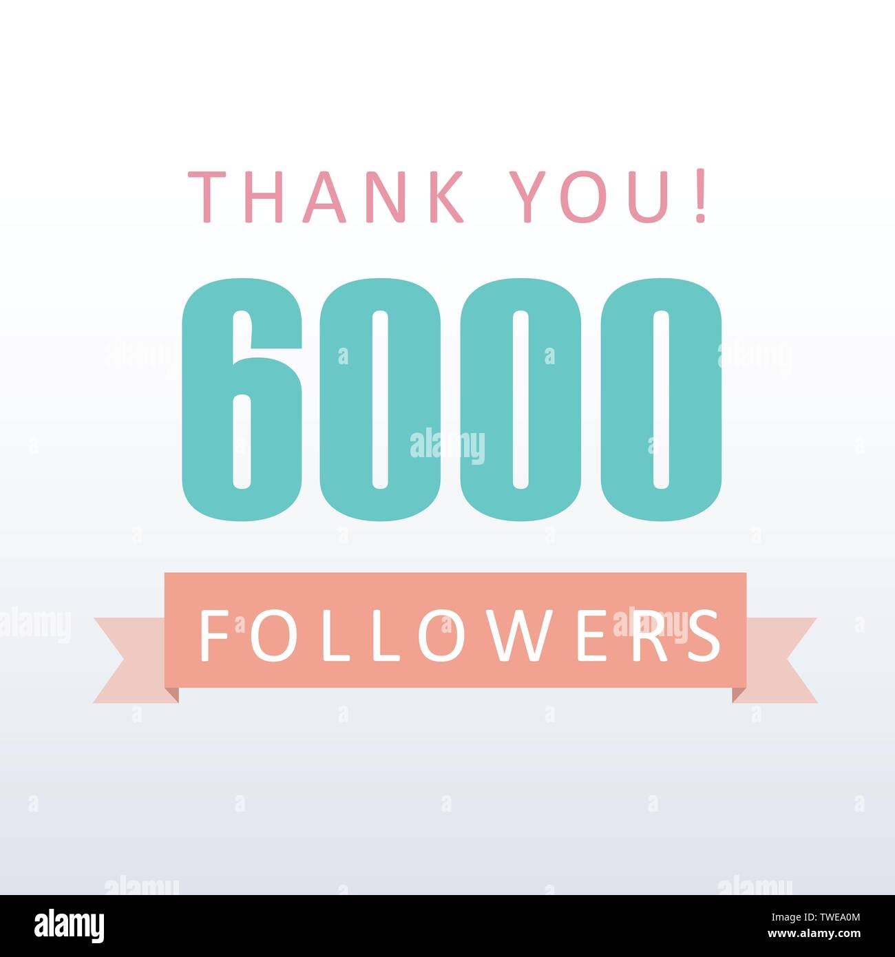 6000 followers Thank you number with banner- social media gratitude - Stock Image