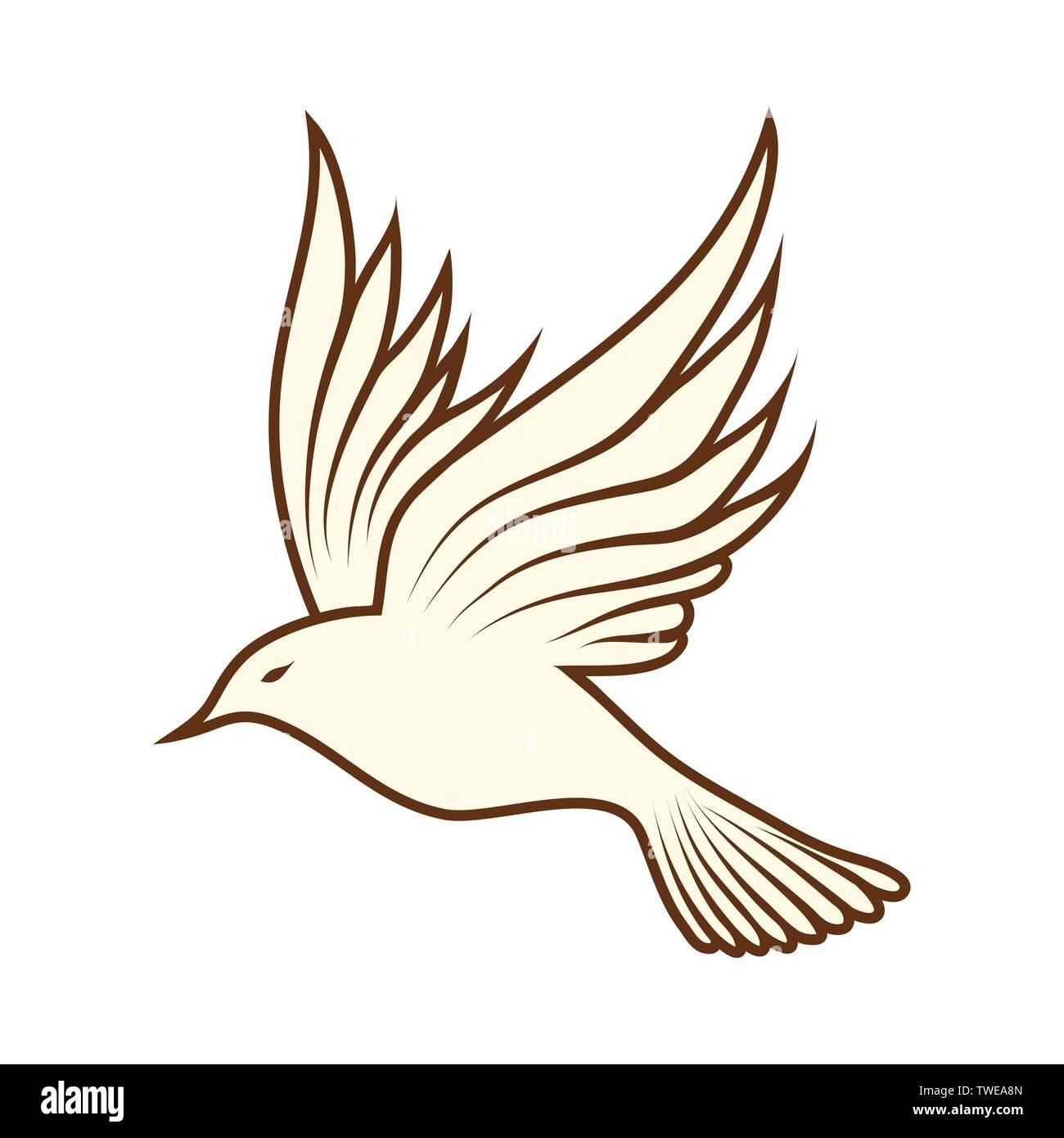 - Sketch Of Bird. Brown Line Color Design. Vector Illustration Stock
