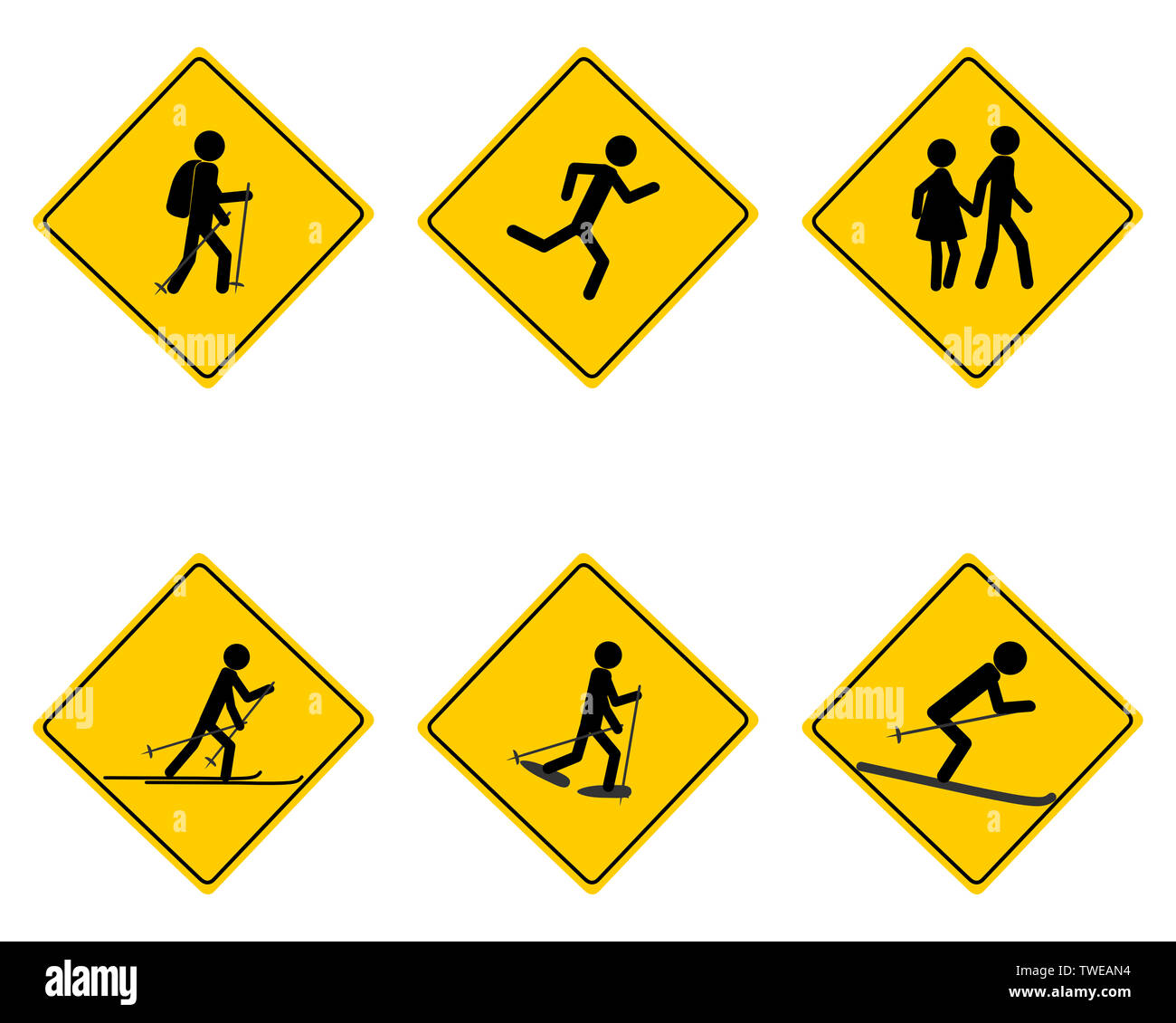 Traffic warning sign for various sports - Stock Image