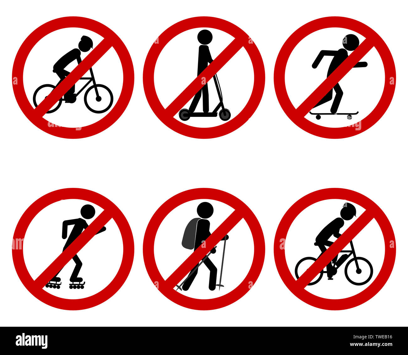Traffic prohibition sign for various sports - Stock Image