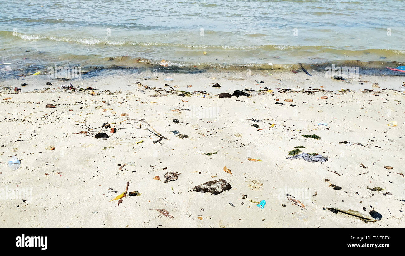 Pollution on the beach of tropical sea, Malaysia. - Stock Image