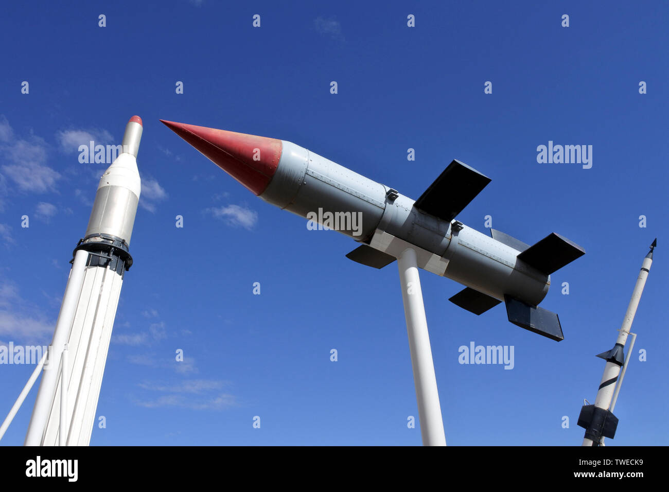 WOOMERA,SA - MAY 15 2019:Woomera Missile Park.Woomera town was home to personnel who worked between 1947-1980 in experimental station to test rockets, Stock Photo