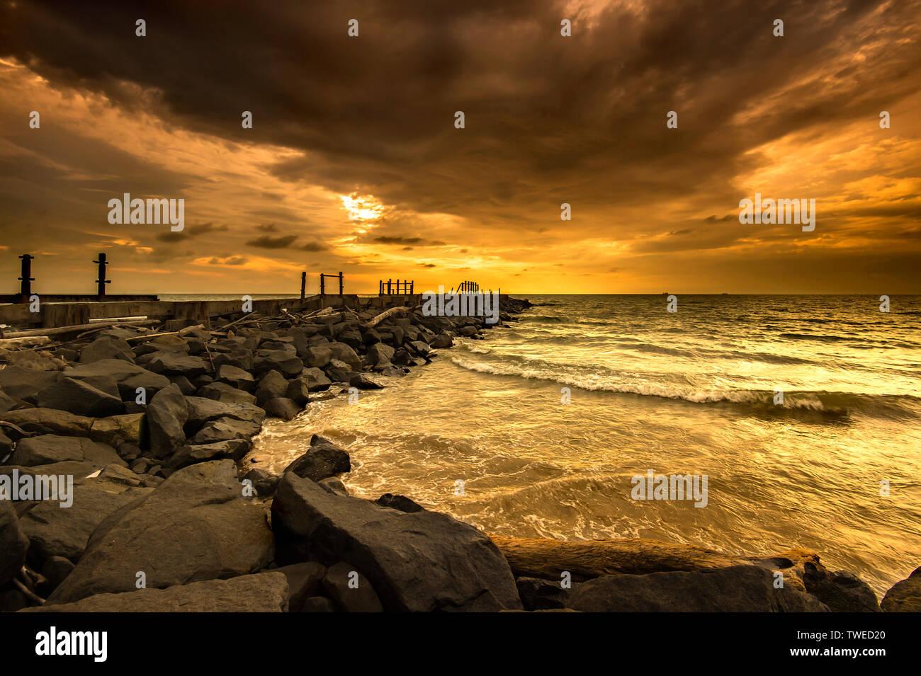Tanjung Bungah waterfront during sunset - Stock Image