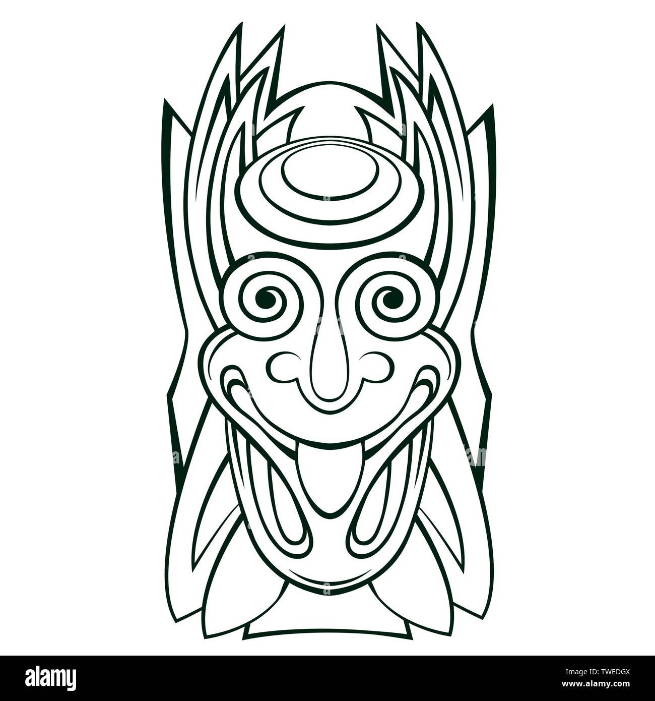 Tiki idol mask Line Art - Stock Vector