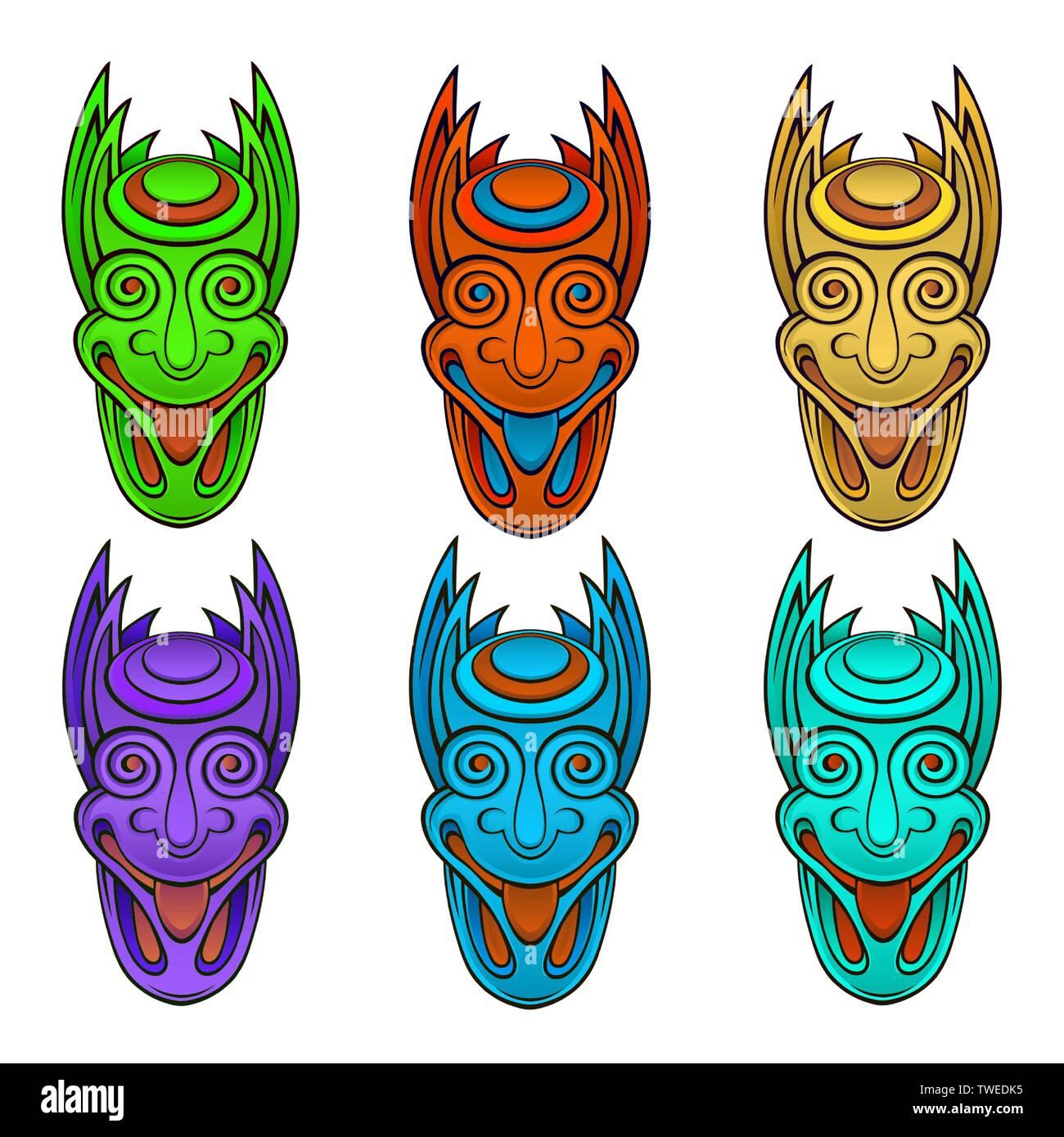 Tiki idol aztec hawaii face - Stock Vector