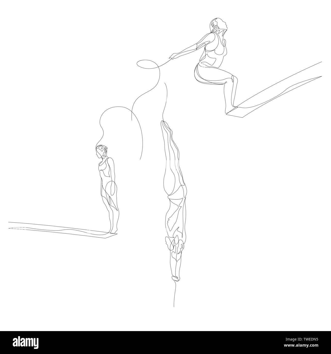 Continuous one line athlete jump in water or fall in water set. Summer Olympic Games. Vector - Stock Vector